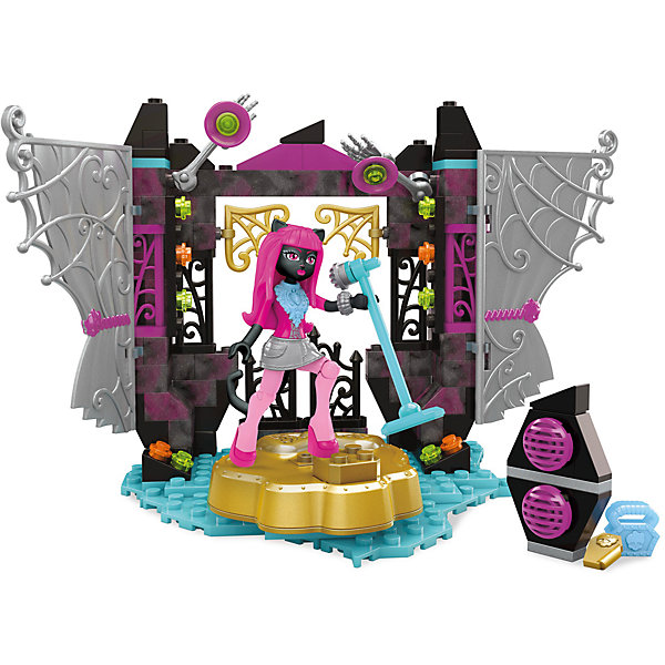 Monster High: Игровой набор Звездная сцена, MEGA BLOKSПластмассовые конструкторы<br>Характеристики:<br><br>• Вид игр: конструирование, сюжетно-ролевые игры<br>• Пол: для девочек<br>• Серия: Monster High<br>• Материал: пластик, металл<br>• Цвет: розовый, золотистый, голубой, серебристый, коричневый<br>• Комплектация: фигурка Кэтти Нуар, сцена, занавес, микрофон, аксессуары<br>• Количество деталей: 162 шт.<br>• Батарейки: 3 шт. типа LR 44 (в комплекте предусмотрены демонстрационные)<br>• Наличие звуковых эффектов <br>• У сцены вращающиеся кулисы<br>• Размеры (Д*Ш*В): 5*31*24 см<br>• Вес: 355 г <br>• Упаковка: картонная коробка <br><br>Monster High: Игровой набор Звездная сцена, MEGA BLOKS – это конструктор серии Monster High от Mattel. Детали конструктора выполнены из качественного и безопасного пластика, устойчивого к механическим повреждениям. Все элементы окрашены нетоксичными красками. Конструктор состоит из 162 деталей, из которых собирается сцена с кулисами и занавесом, микрофон, фигурка Кэтти Нуар и другие аксессуары. Такой набор позволит поклоннице знаменитого мультсериала воспроизвести любимые сюжеты или придумать свою историю.<br>Сюжетно-ролевые игры с конструктором серии Monster High позволят развивать воображение, образное и пространственное мышление, а конструирование – мелкую моторику рук, научит вашего ребенка быть внимательным и терпеливым при сборке деталей.<br>Конструктор Monster High: Игровой набор Звездная сцена, MEGA BLOKS совместим с другими наборами данной серии. <br><br>Monster High: Игровой набор Звездная сцена, MEGA BLOKS можно купить в нашем интернет-магазине.<br>Ширина мм: 245; Глубина мм: 305; Высота мм: 50; Вес г: 454; Возраст от месяцев: 84; Возраст до месяцев: 144; Пол: Женский; Возраст: Детский; SKU: 5200246;