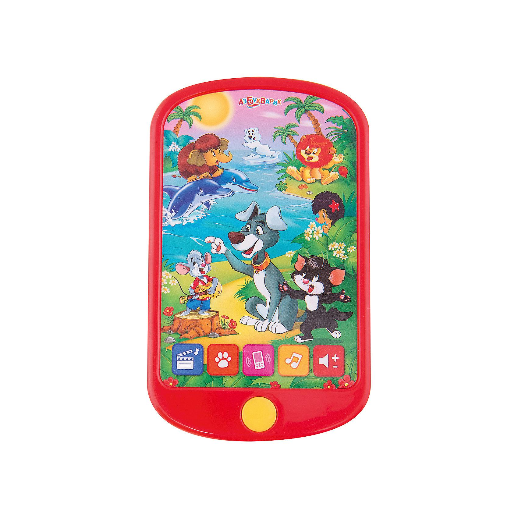 Широкий смартфончик Мои мультяшки, АзбукварикХарактеристики товара:<br><br>• цвет: разноцветный<br>• размер упаковки: 23 х 13 см<br>• батарейки в комплекте: 3хAAA/LR0.3V (мизинчиковые).<br>• материал: пластик, металл.<br>• воспроизводит звуки, песни, 5 сказок<br>• возраст: от трех лет<br>• есть регулировка звука<br>• страна бренда: РФ<br>• страна изготовитель: РФ<br><br>Познавать мир можно очень интересно! Такой смартфон станет отличным подарком ребенку - ведь с помощью него можно научиться раскрашивать картинки пальчиками. В набор входят альбом и наклейки, которые можно послушать смешные звуки, песни, целых пять сказок, а также дополнительно скачать 15 потешек и караоке!<br>Игра с такими смартфонами помогает детям развивать важные навыки и способности, она активизирует мышление, цветовосприятие, звуковосприятие, логику, мелкую моторику и воображение. Изделие производится из качественных и проверенных материалов, которые безопасны для детей.<br><br>Широкий смартфончик Мои мультяшки от бренда Азбукварик можно купить в нашем интернет-магазине.<br><br>Ширина мм: 13<br>Глубина мм: 22<br>Высота мм: 13<br>Вес г: 115<br>Возраст от месяцев: 24<br>Возраст до месяцев: 48<br>Пол: Унисекс<br>Возраст: Детский<br>SKU: 5200825