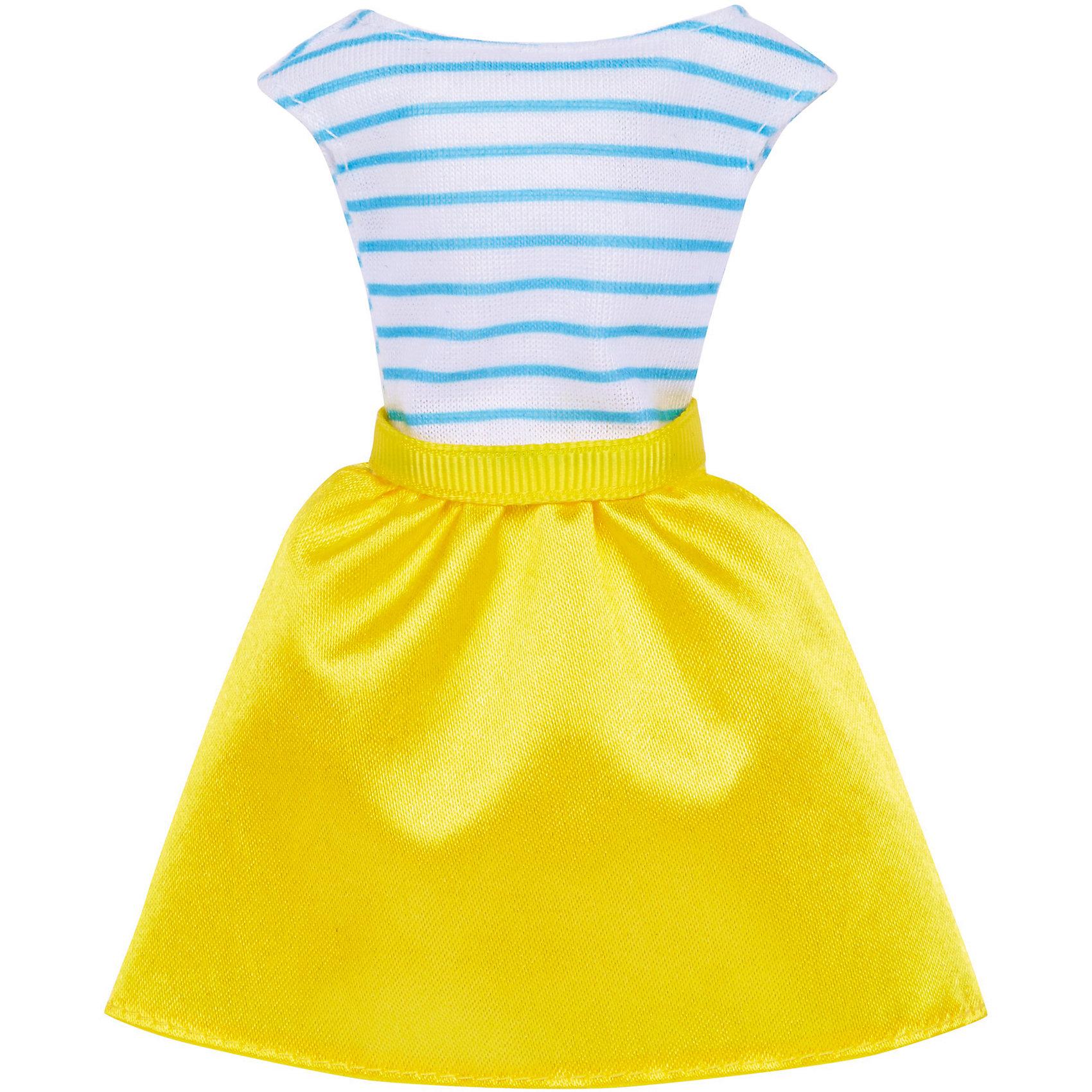 Одежда для Barbie Игра с модойПопулярные игрушки<br>Одежда для Barbie Игра с модой – это изящные комплекты одежды для любимой куклы Барби.<br>Когда возможности безграничны, гардероб должен быть таким же! В этих ультрамодных нарядах кукла Барби (продается отдельно) будет неотразима с утра до вечера. У платьев простой, но элегантный покрой, современная расцветка, рисунок и детали. Они позволят создать множество ярких и разнообразных образов (предметы продаются по отдельности). Если собрать всю коллекцию одежды для куклы Барби, можно будет подобрать наряды для самых разных сюжетов!<br><br>Дополнительная информация:<br><br>- В наборе: одно платье<br>- Кукла продается отдельно<br>- Платья подходят для большинства кукол Барби<br>- Материал: текстиль<br><br>Одежду для Barbie Игра с модой можно купить в нашем интернет-магазине.<br><br>Ширина мм: 156<br>Глубина мм: 78<br>Высота мм: 10<br>Вес г: 18<br>Возраст от месяцев: 36<br>Возраст до месяцев: 96<br>Пол: Женский<br>Возраст: Детский<br>SKU: 5201250