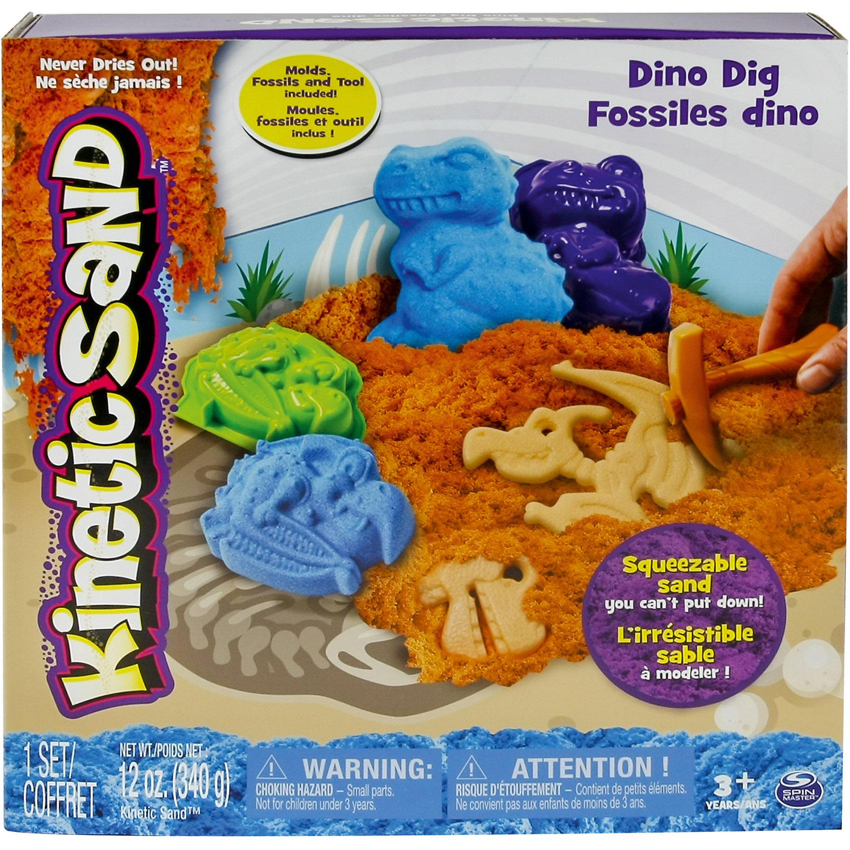 Песок для лепки Kinetic Sand. Игровой набор c формочками, 340 граммКинетический песок<br>Песок для лепки Kinetic Sand. Игровой набор c формочками, 340 грамм<br><br>Характеристики:<br><br>• развивает фантазию и мелкую моторику<br>• яркий цвет<br>• не высыхает и не пачкает одежду<br>• легко собрать<br>• быстро принимает нужную форму<br>• вес: 340 грамм<br>• состав: 98% кварцевый песок, 2% связующий агент<br><br>Кинетический песок - универсальный заменитель детской песочницы в домашних условиях. Для игры требуется лишь немного фантазии и желание играть. С помощью формочек ребенок сможет создать интересные фигуры динозавров, найти их останки, а может и придумать целую историю. Песок рассыпчатый, не липнет к рукам, не пачкает одежду и легко собирается. В набор входит удобная площадка для игры. При желании вы можете помочь ребенку смешать цвета и создать новый оттенок. Яркие фигурки легко рассыпаются на песчинки, которые ребенок с радостью соберет снова и снова.<br><br>Песок для лепки Kinetic Sand. Игровой набор c формочками, 340 грамм вы можете купить в нашем интернет-магазине.<br><br>Ширина мм: 255<br>Глубина мм: 270<br>Высота мм: 60<br>Вес г: 733<br>Возраст от месяцев: 36<br>Возраст до месяцев: 72<br>Пол: Унисекс<br>Возраст: Детский<br>SKU: 5203144