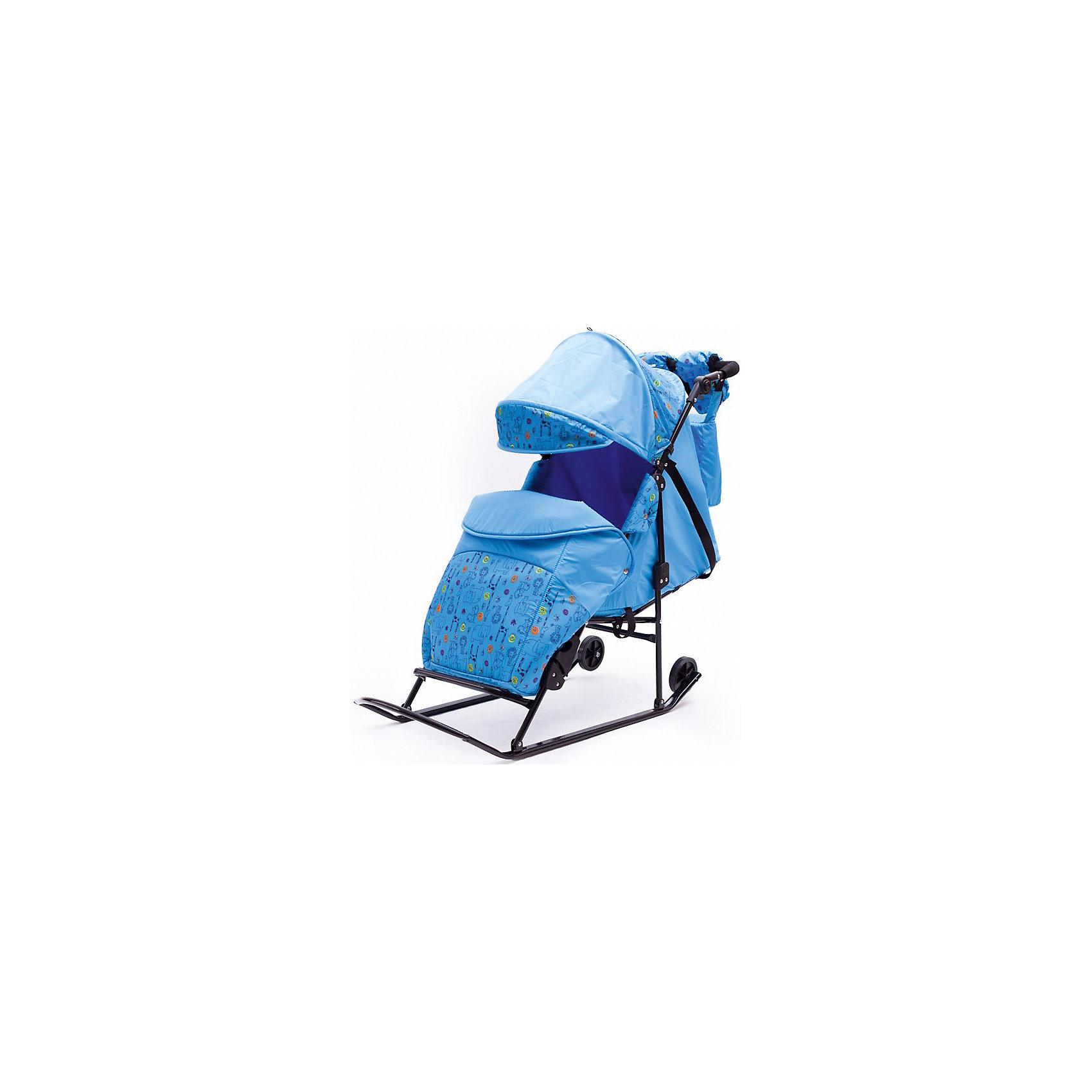 ABC Academy Санки-коляска Зимняя сказка 2В Авто, черная рама, ABC Academy, голубой/зоопарк abc academy санки коляска зимняя сказка 5м люкс белая рама abc academy голубой зоопарк