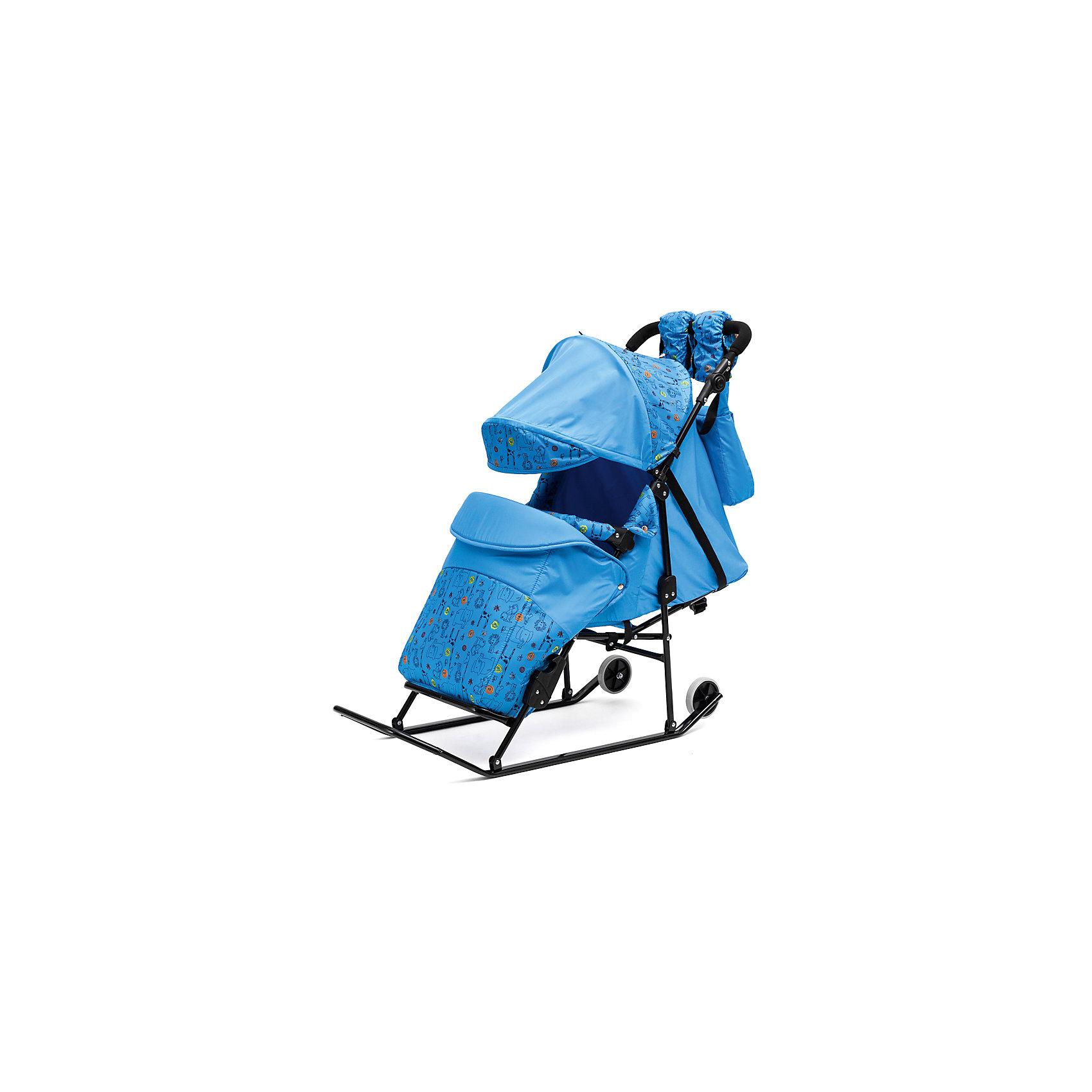 ходунки abc academy 9253 розовые ABC Academy Санки-коляска Зимняя сказка 3В Авто, черная рама, ABC Academy, голубой/зоопарк