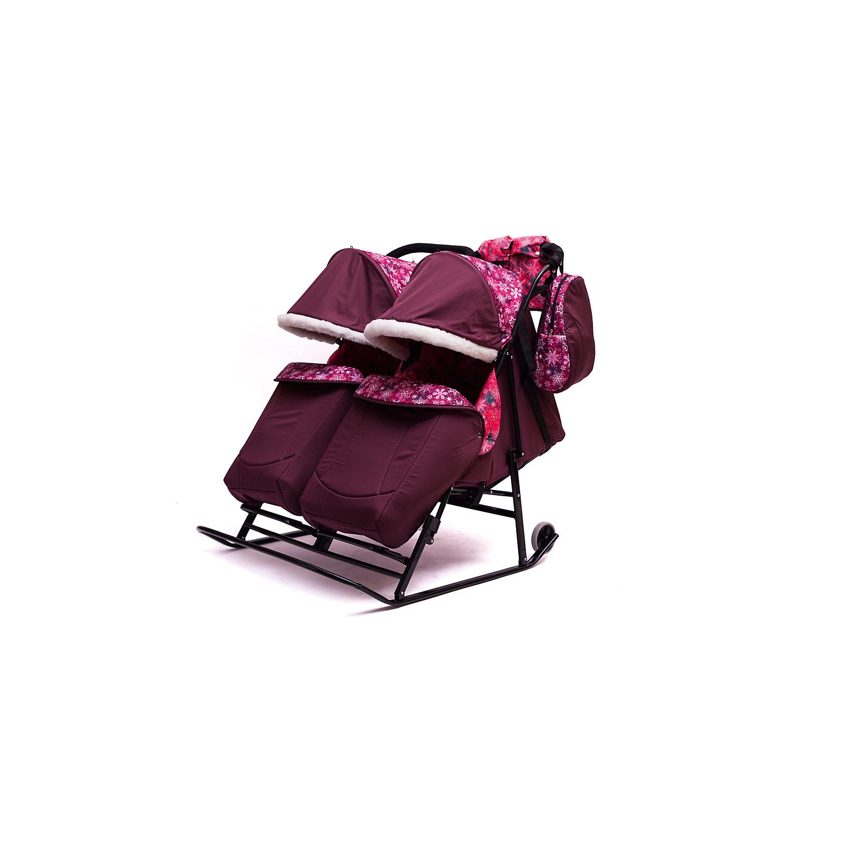 ходунки abc academy 9253 розовые ABC Academy Санки-коляска для двойни Зимняя сказка 3В Твин, черная рама, ABC Academy, бордовый/снежинки