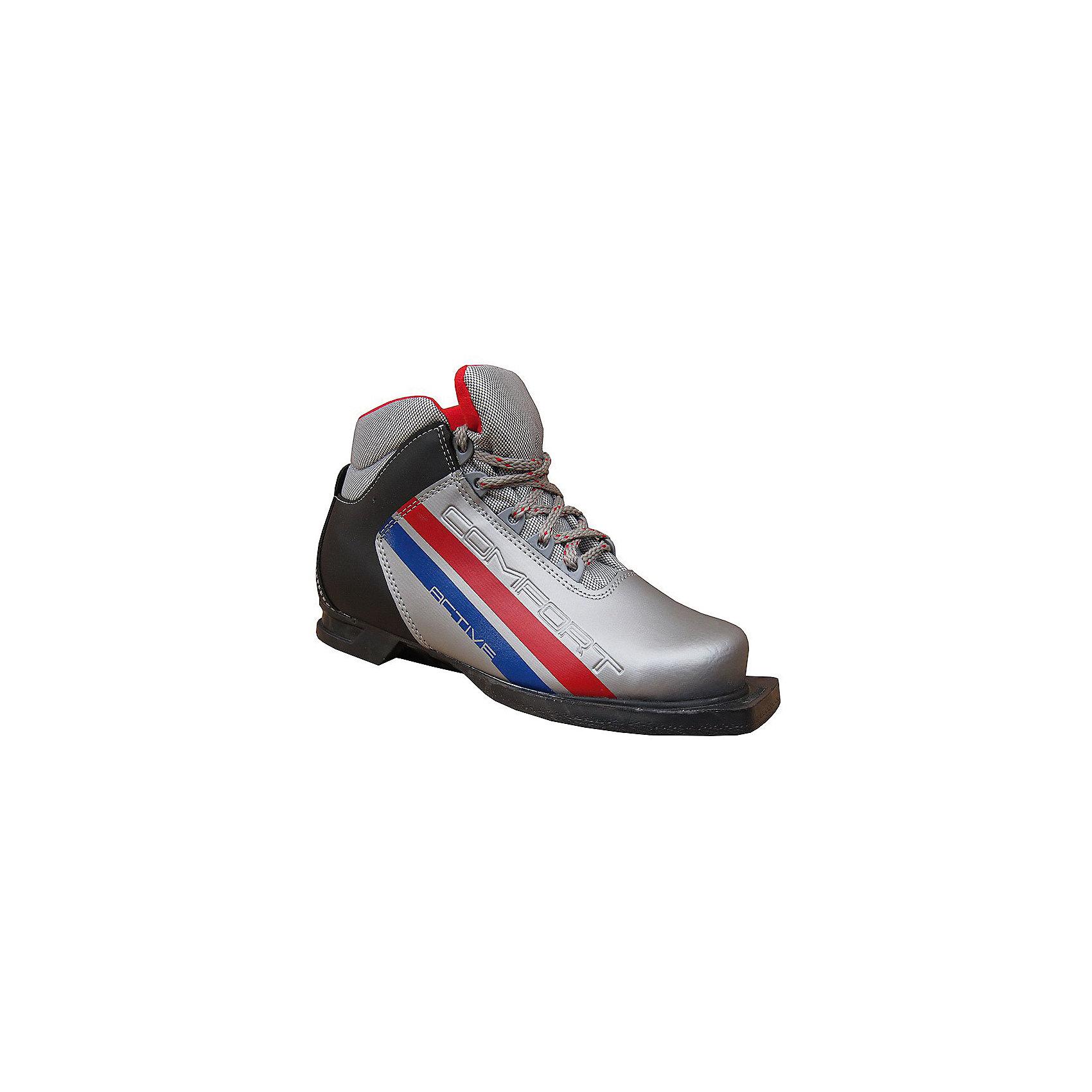 - Ботинки лыжные 75мм М350, МАРАКС, серебро-черный