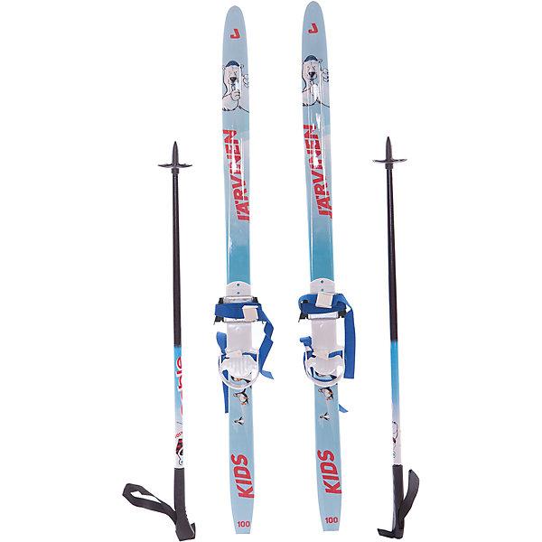 Детский комплект (синие лыжи KIDS,  черные палки, крепления), СобольЛыжи и сноуборды<br>Описание<br>Назначение:<br>-комплект предназначен для детей в возрасте 3-х лет;<br>-прост в применении и имеет привлекательный дизайн;<br><br>Лыжи:<br>-широкие и нежесткие лыжи обеспечивают устойчивость при катании;<br>-для безопасности детей носки лыж выполнены с большим радиусом закругления;<br>-Геометрия: 48-48-48, 50-50-50, 54-48-52 мм;<br>-Конструкция: CAP, облегченный деревянный клин, скользящая поверхность ПНД;<br>-Ростовка: 100см;<br><br>Палки:<br>-для безопасности детей лыжные палки оснащены опорами без острых наконечников<br>-100% стекловолокно, ручки двух видов с темляком и без него;<br><br>Крепления:<br>-Комбинированные<br><br>Лыжные комплекты выпускаются с системой насечек STEP<br><br>Страна-производитель: Россия<br>Ширина мм: 1000; Глубина мм: 160; Высота мм: 60; Вес г: 1300; Цвет: белый; Возраст от месяцев: 36; Возраст до месяцев: 48; Пол: Унисекс; Возраст: Детский; Размер: 100; SKU: 5204711;