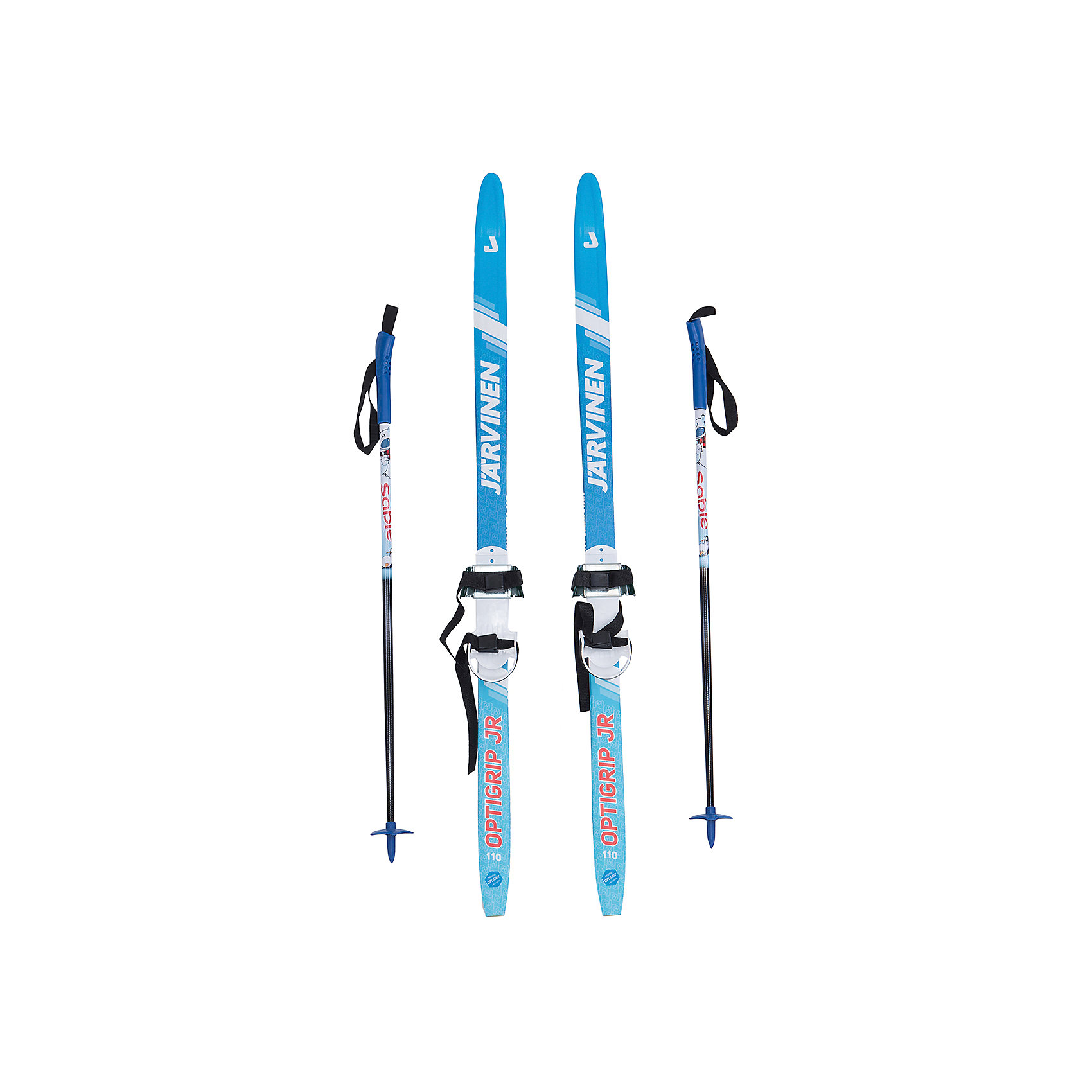 - Детский комплект (синие лыжи Optigrip JR , синие палки, крепления), Соболь лыжи беговые tisa race cap universal jr