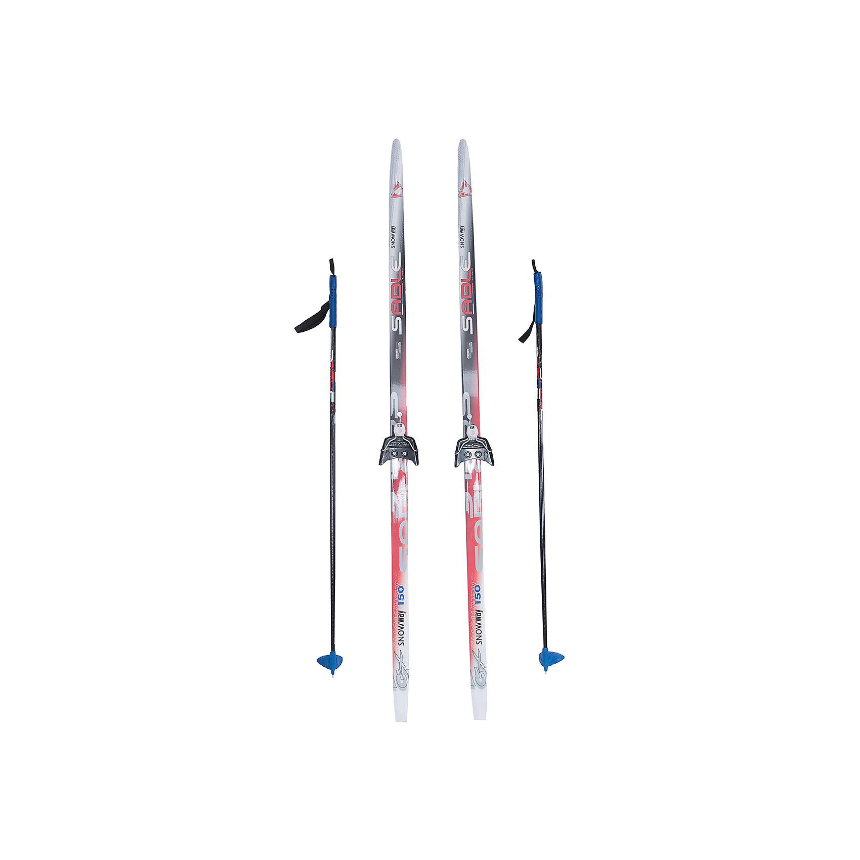 - Лыжный комплект на 75мм, Соболь, красные лыжи, палки синие пластиковые лыжи без насечки цст 180