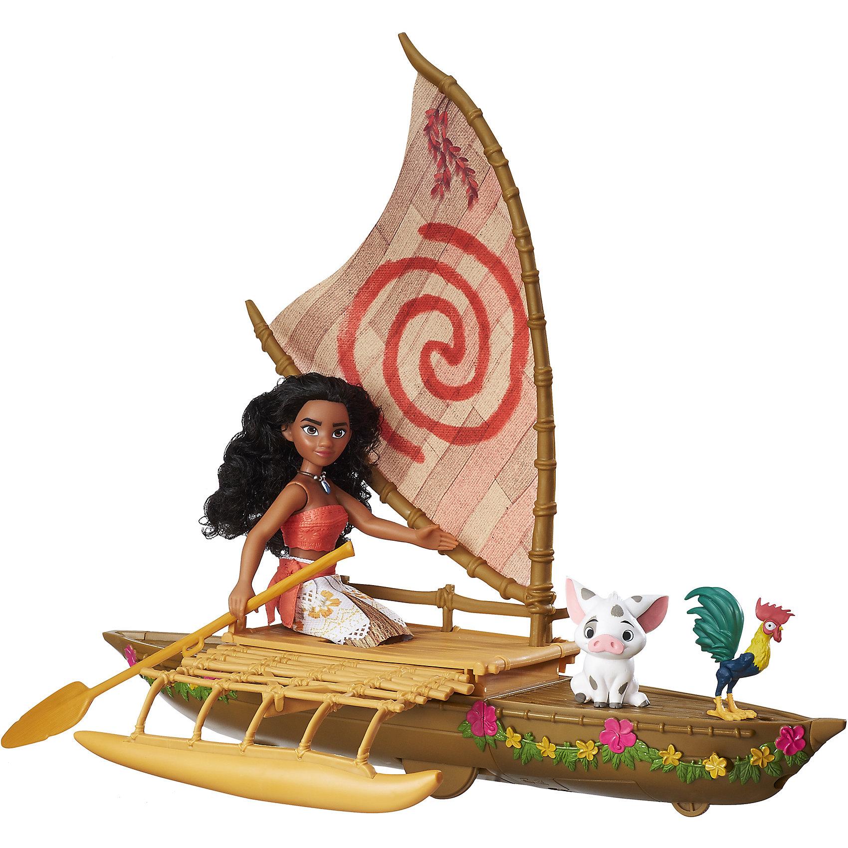 Кукла Моана и лодкаВ набор входит лодка в точности как в фильме, на которой Моана отправляется в путешествие со своими друзьями. Когда девочка толкает лодку вперед, она как будто бы качается на волнах. В лодке есть механизм, который проецирует изображение звездного неба на поверхности впереди лодки. Моана и Мауи отправляются в приключения вместе, а Пуа и Хей Хей качаются на голубых волнах недалеко от них.<br><br>Ширина мм: 81<br>Глубина мм: 508<br>Высота мм: 381<br>Вес г: 1388<br>Возраст от месяцев: 36<br>Возраст до месяцев: 144<br>Пол: Женский<br>Возраст: Детский<br>SKU: 5205215