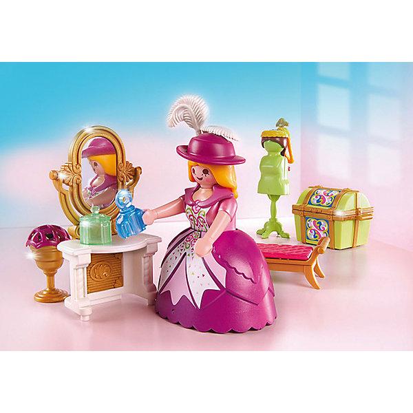 Сказочный дворец: Королевская гардеробная комната, PLAYMOBILПластмассовые конструкторы<br>Сказочный дворец: Королевская гардеробная комната, PLAYMOBIL (Плеймобиль).<br><br>Характеристики:<br><br>• Размер упаковки: 20х15х7,5 см.<br>• Цвет: розовый,золотой.<br>• Материал: пластик.<br>В набор входит:<br>- фигурка принцессы<br>- трюмо с зеркалом<br>- небольшой сундучок для драгоценностей и духов<br>- большой сундук для туалетов и шляп принцессы<br>- табурет перед зеркалом<br>- манекен для одежды<br>- напольный подсвечник со свечами.<br><br>Королевская гардеробная комната Playmobil – замечательный  игровой набор для маленьких девочек. Принцесса готовится к балу, встрече  с принцем и ей нужно  привести себя в порядок! Шикарное трюмо, духи и драгоценности помогут ей в этом. Гардеробную комнату необходимо собрать из деталей, таким образом, развивается мелкая моторика.<br>Подарите своей маленькой принцессе такой набор!<br><br>Сказочный дворец: Королевская гардеробная комната, PLAYMOBIL (Плеймобиль), можно купить в нашем интернет- магазине.<br>Ширина мм: 200; Глубина мм: 75; Высота мм: 150; Вес г: 1700; Возраст от месяцев: 48; Возраст до месяцев: 2147483647; Пол: Женский; Возраст: Детский; SKU: 5207146;