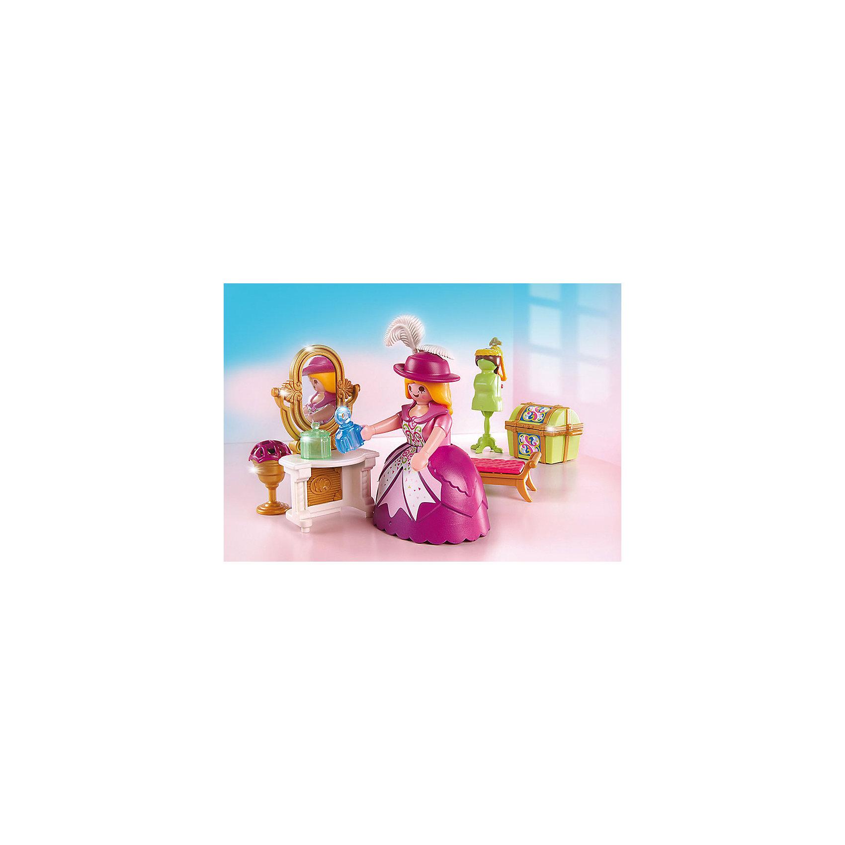 Сказочный дворец: Королевская гардеробная комната, PLAYMOBILПластмассовые конструкторы<br>Сказочный дворец: Королевская гардеробная комната, PLAYMOBIL (Плеймобиль).<br><br>Характеристики:<br><br>• Размер упаковки: 20х15х7,5 см.<br>• Цвет: розовый,золотой.<br>• Материал: пластик.<br>В набор входит:<br>- фигурка принцессы<br>- трюмо с зеркалом<br>- небольшой сундучок для драгоценностей и духов<br>- большой сундук для туалетов и шляп принцессы<br>- табурет перед зеркалом<br>- манекен для одежды<br>- напольный подсвечник со свечами.<br><br>Королевская гардеробная комната Playmobil – замечательный  игровой набор для маленьких девочек. Принцесса готовится к балу, встрече  с принцем и ей нужно  привести себя в порядок! Шикарное трюмо, духи и драгоценности помогут ей в этом. Гардеробную комнату необходимо собрать из деталей, таким образом, развивается мелкая моторика.<br>Подарите своей маленькой принцессе такой набор!<br><br>Сказочный дворец: Королевская гардеробная комната, PLAYMOBIL (Плеймобиль), можно купить в нашем интернет- магазине.<br><br>Ширина мм: 200<br>Глубина мм: 75<br>Высота мм: 150<br>Вес г: 1700<br>Возраст от месяцев: 48<br>Возраст до месяцев: 2147483647<br>Пол: Женский<br>Возраст: Детский<br>SKU: 5207146