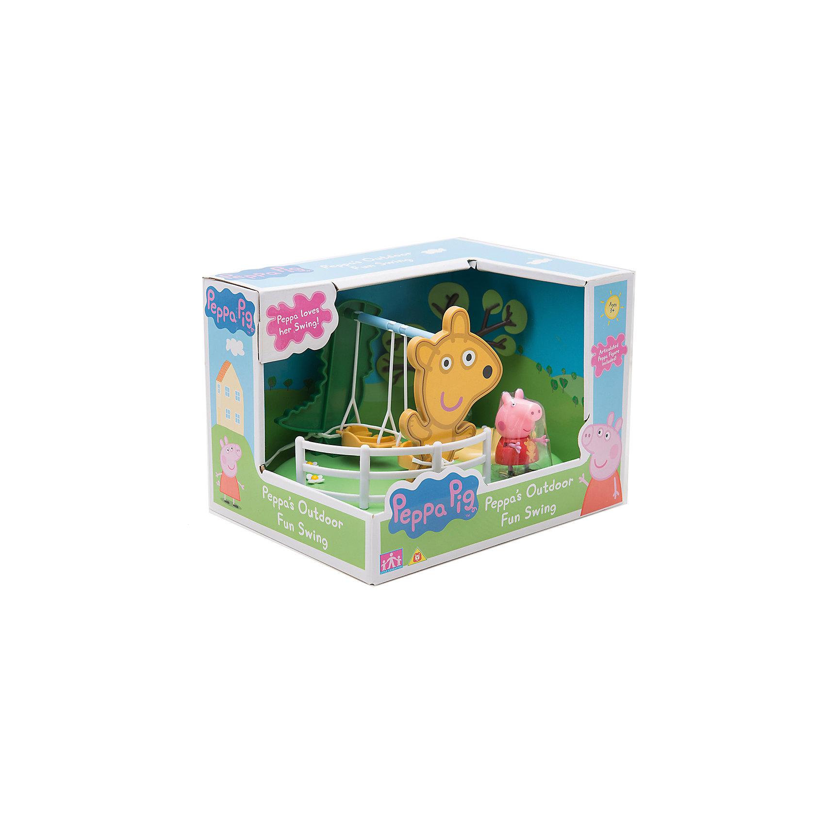 Игровой набор Площадка Качели, Peppa PigИгровой набор Площадка Качели, Peppa Pig (Пеппа Пиг).<br><br>Характеристики:<br><br>• Размер: 21X16X15 см.<br>• Цвет: разноцветный.<br>• Материал: пластик.<br><br>Игровой набор Площадка Качели, Peppa Pig (Пеппа Пиг) создан по мотивам популярного мультфильма про Свинку Пеппу. Этот яркий игровой набор сразу же привлечет внимание детей и разнообразит их досуг тематическими играми по мотивам любимого мультфильма. Он представляет собой  площадку с зеленой цветочной лужайкой, на которой расположены качели с дырочками на сиденьях - для фиксации фигурок. Качели могут раскачиваться. Снизу у игрушки имеются специальные приспособления, которые по типу пазлов позволяют присоединить эту площадку к другим подобным из этой серии: Качели-качалка, Горка.  В данный набор входит площадка с качелями и фигурка Свинки Пеппы (5 см). Порадуйте своего малыша, подарив ему такой замечательный набор!<br><br>Игровой набор Площадка Качели, Peppa Pig (Пеппа Пиг), можно купить в нашем интернет- магазине.<br><br>Ширина мм: 212<br>Глубина мм: 160<br>Высота мм: 150<br>Вес г: 320<br>Возраст от месяцев: 36<br>Возраст до месяцев: 2147483647<br>Пол: Унисекс<br>Возраст: Детский<br>SKU: 5211668