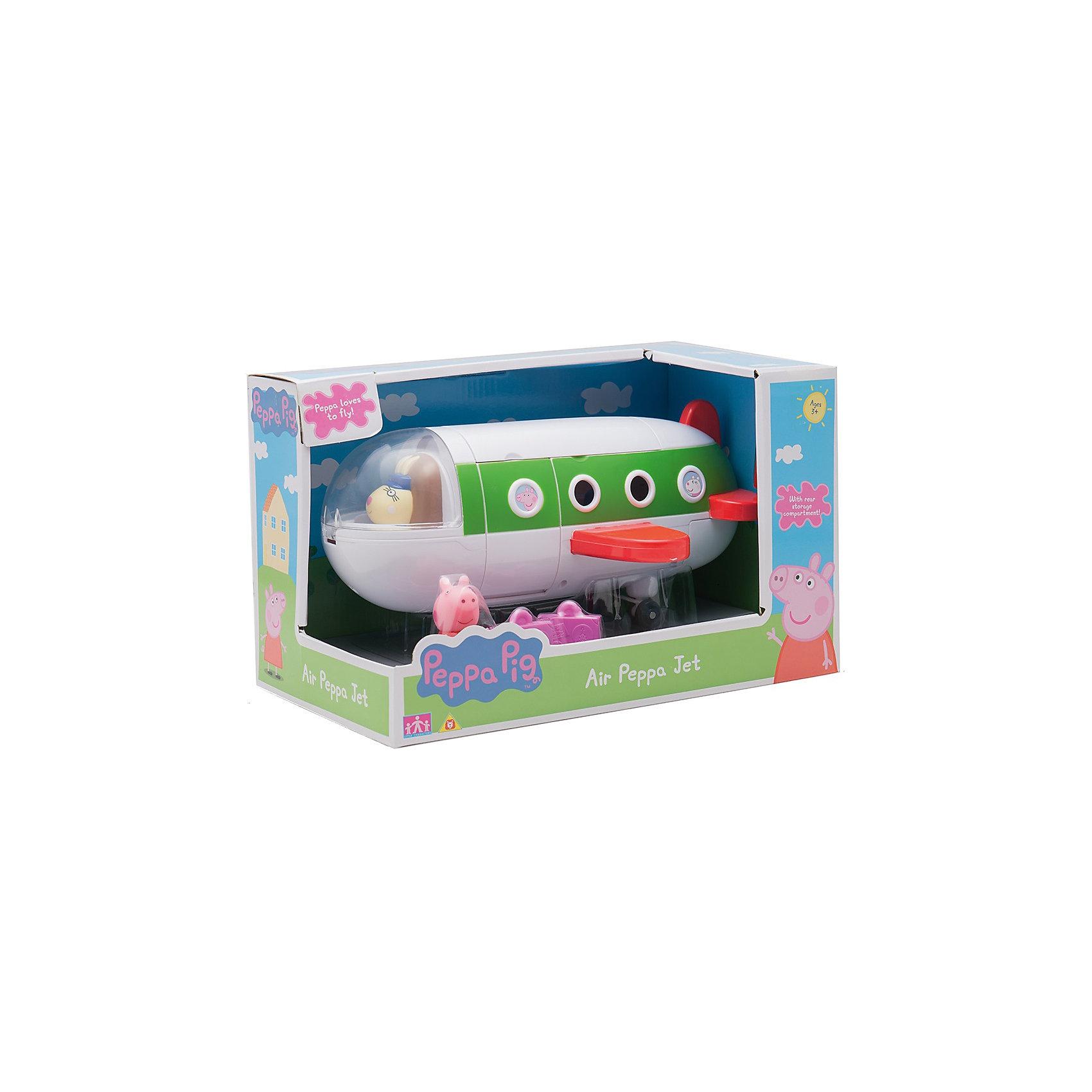 Игровой набор Самолет с Пеппой, Peppa PigИгрушки<br>Игровой набор Самолет с Пеппой, Peppa Pig (Пеппа Пиг).<br><br>Характеристики:<br><br>• Размер: 26X19X13 см.<br>• Цвет: разноцветный.<br>• Материал: пластик.<br>• В комплекте: самолет, фигурка Пеппы, чемоданы<br><br>Игровой набор Самолет с Пеппой, Peppa Pig (Пеппа Пиг) создан по мотивам популярного мультфильма про Свинку Пеппу. Яркий игровой набор сразу же привлечет внимание детей и разнообразит их досуг тематическими играми по мотивам любимого мультфильма. Он представляет собой  самолет,за штурвалом которого сидит мадам Крольчиха. Также в наборе фигурка Свинки Пеппы в красном платьице и чемоданы.  Игровая конструкция и аксессуары изготовлены из прочного пластика высокого качества, который нетоксичен и очень приятный на ощупь. Порадуйте своего малыша, подарив ему такой замечательный набор!<br><br>Игровой набор Самолет с Пеппой, Peppa Pig (Пеппа Пиг), можно купить в нашем интернет- магазине.<br><br>Ширина мм: 290<br>Глубина мм: 175<br>Высота мм: 180<br>Вес г: 720<br>Возраст от месяцев: 36<br>Возраст до месяцев: 2147483647<br>Пол: Унисекс<br>Возраст: Детский<br>SKU: 5211669