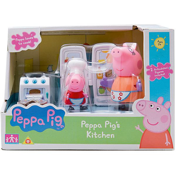 Игровой набор Кухня Пеппы, Peppa PigИгрушки<br>Игровой набор Кухня Пеппы, Peppa Pig (Пеппа Пиг).<br><br>Характеристики:<br><br>• Размер: 20X13X14 см.<br>• Цвет: разноцветный.<br>• Материал: пластик.<br>• В комплекте: 2 фигурки с подвижными ручками и ножками (Пеппа в несъемном колпаке - 6 см, мама в варежках-прихватках - 10 см), холодильник с открывающейся дверкой, плита, сковорода, торт.<br><br>Все любят любит пироги! Вперед на кухню вместе с Пеппой! Пеппа  вместе с мамой приглашают маленьких кулинаров испечь самый вкусный и сладкий торт. Для этого у нее есть плита с духовкой, холодильник и сковорода. Играя с этими аксессуарами и фигурками любимых персонажей, девочки будут развивать воображение, семейные ценности, развивать любовь к кулинарии, что особенно важно для юных хозяек. Игрушки выполнены из прочного высококачественного пластика, безопасного для детского использования.  Порадуйте своего малыша, подарив ему такой замечательный набор!<br><br>Игровой набор Кухня Пеппы, Peppa Pig (Пеппа Пиг), можно купить в нашем интернет- магазине.<br>Ширина мм: 200; Глубина мм: 130; Высота мм: 140; Вес г: 250; Возраст от месяцев: 36; Возраст до месяцев: 2147483647; Пол: Унисекс; Возраст: Детский; SKU: 5211670;