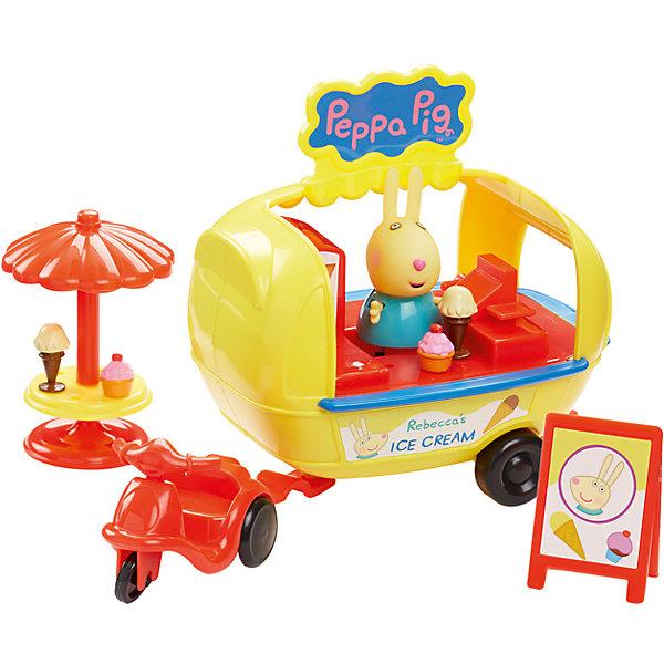 Игровой набор Кафе-мороженое Ребекки, Peppa PigИгровые наборы с фигурками<br>Игровой набор Кафе-мороженое Ребекки, Peppa Pig (Свинка Пеппа).<br><br>Характеристика:<br><br>• Материал: пластик.  <br>• Размер упаковки: 15х15х24 см. <br>• Размер фургона: 13х10х13 см.<br>• Высота фигурки Ребекки: 5,5 см. <br>• Комплектация: фигурка Ребекки, мопед, кафе-прицеп с мороженым, столик с зонтиком, вывеска, аксессуары. <br>• Голова, руки, ноги фигурки подвижные. <br>• Колеса вращаются. <br><br>Ребекка приглашает друзей полакомиться вкусным мороженым - скорее помоги ей в этом! В этом замечательном наборе есть все, чтобы весело провести время и отведать вкусное лакомство. Собери все наборы Peppa Pig, проигрывай любимые моменты из мультфильмов или придумывай свои забавные истории!<br>Все детали набора изготовлены из высококачественных нетоксичных материалов безопасных для детей.<br><br>Игровой набор Кафе-мороженое Ребекки, Peppa Pig (Свинка Пеппа) можно купить в нашем интернет-магазине.<br>Ширина мм: 240; Глубина мм: 145; Высота мм: 145; Вес г: 433; Возраст от месяцев: 36; Возраст до месяцев: 2147483647; Пол: Унисекс; Возраст: Детский; SKU: 5211672;