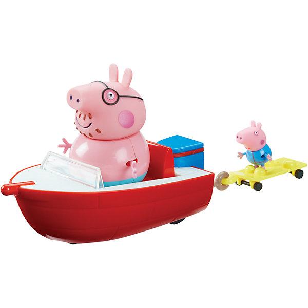 Игровой набор Моторная лодка, Peppa PigИгровые наборы с фигурками<br>Игровой набор Моторная лодка, Peppa Pig (Свинка Пеппа).<br><br>Характеристика:<br><br>• Материал: пластик.  <br>• Размер упаковки: 16х12х29 см. <br>• Размер моторной лодки: 17х9х6 см.<br>• Размер водной доски: 8х4х2 см.<br>• Высота фигурки папы Свина: 10 см. <br>• Высота фигурки Джорджа: 4,5 см.<br>• Комплектация: моторная лодка, водная доска, фигурка папы Свина, фигурка Джорджа.<br>• Голова, руки, ноги фигурок подвижные. <br>• Лодка и доска имеют маленькие колеса. <br><br>Хочешь прокатиться на моторной лодке вместе с папой Свином и Джорджем? Тогда это замечательный набор - для тебя!<br>Собери все наборы Peppa Pig, проигрывай любимые моменты из мультфильмов или придумывай свои забавные истории!<br>Все детали набора изготовлены из высококачественных нетоксичных материалов безопасных для детей.<br><br>Игровой набор Моторная лодка, Peppa Pig (Свинка Пеппа) можно купить в нашем интернет-магазине.<br>Ширина мм: 290; Глубина мм: 120; Высота мм: 160; Вес г: 433; Возраст от месяцев: 36; Возраст до месяцев: 2147483647; Пол: Унисекс; Возраст: Детский; SKU: 5211673;