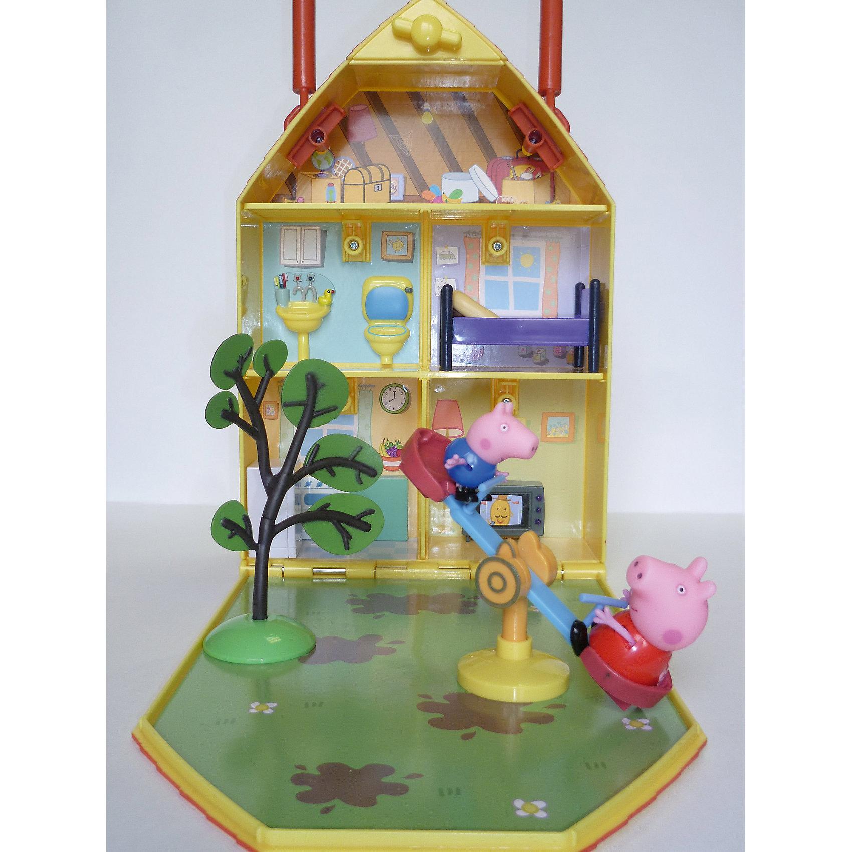 Игровой набор Дом Пеппы с садом, Peppa PigИгрушки<br>Игровой набор Дом Пеппы с садом, Peppa Pig (Свинка Пеппа). <br><br>Характеристика:<br><br>• Материал: пластик.  <br>• Размер упаковки: 22х7х31,5 см.<br>• Размер фигурки Пеппы: 5,5 см.<br>• Размер дома в сложенном виде: 18х6х32 см.<br>• Размер фигурки Джорджа: 4 см.<br>• Размер телевизора: 4,3х1,5х3 см.<br>• Размер холодильника: 3х2,3х4,5 см.<br>• Размер кроватки: 7,6х4,3х4,5 см.<br>• Размер качелей: 12х6х3,7 см.<br>• Высота дерева: 11,5 см.<br>• Комплектация: домик, фигурка Пеппы, фигурка Джорджа, телевизор, холодильник, кровать, качели-качалка, дерево.<br>• Голова и руки фигурок подвижные. <br>• Дом складывается в удобный чемодан с ручкой. <br><br>Это чудесный домик приведет в восторг всех поклонников мультсериала Peppa Pig. В нем есть все для беззаботной и счастливой жизни озорной Свинки Пеппы и ее семьи. В доме есть спальня, гостиная, кухня, ванная комната, уютный дворик, качели и множество полезных и красивых аксессуаров. Конструкция дома представляет собой удобный чемоданчик с откидной стенкой, который можно закрыть, не беспокоясь, что во время переноски аксессуары и любимые игрушки потеряются. <br>Все детали набора выполнены из высококачественного экологичного пластика безопасного для детей. <br><br>Игровой набор Дом Пеппы с садом, Peppa Pig (Свинка Пеппа), можно купить в нашем интернет-магазине.<br><br>Ширина мм: 318<br>Глубина мм: 220<br>Высота мм: 70<br>Вес г: 750<br>Возраст от месяцев: 36<br>Возраст до месяцев: 2147483647<br>Пол: Унисекс<br>Возраст: Детский<br>SKU: 5211679