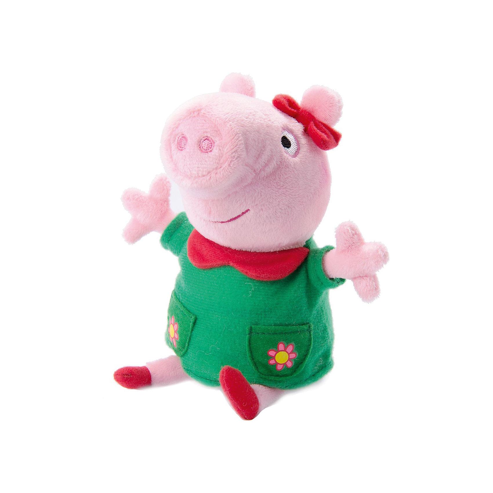 Мягкая игрушка Пеппа модница озвученная, 20 см, Peppa PigМягкая игрушка Пеппа модница озвученная, 20 см, Peppa Pig (Свинка Пеппа). <br><br>Характеристика:<br><br>• Материал: пластик, текстиль, плюш.  <br>• Размер игрушки: 20 см.<br>• Комплектация: игрушка, платья (2 шт). <br>• Звуковые эффекты: 4 фразы, 5 стихов, 5 полезных советов,1 песня.<br>• Элемент питания: 3 батарейки AG13 или LR44 (в комплекте демонстрационные). <br><br>Дети обожают мягкие игрушки! Игрушка в виде любимой героини всех малышей, Свинки Пеппы, приведет в восторг любого ребенка. Пеппа-модница в очаровательном платье, с бантиками на голове и милых тапочках на лапках умеет произносить фразы петь веселые песенки, рассказывать стихи и даже даст пару хороших советов! В комплекте также есть два очаровательных платьица на все случаи. Прекрасный подарок для всех поклонников Peppa Pig!  <br><br>Мягкую игрушку Пеппа модница, озвученная, 20 см, Peppa Pig (Свинка Пеппа), можно купить в нашем интернет-магазине.<br><br>Ширина мм: 230<br>Глубина мм: 215<br>Высота мм: 115<br>Вес г: 290<br>Возраст от месяцев: 36<br>Возраст до месяцев: 2147483647<br>Пол: Унисекс<br>Возраст: Детский<br>SKU: 5211681