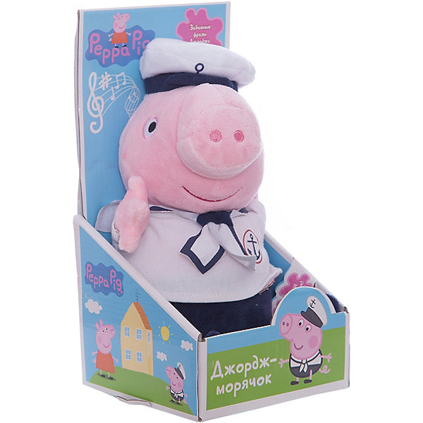 Мягкая игрушка Джордж моряк озвученная, 25 см, Peppa PigМягкие игрушки из мультфильмов<br>Мягкая игрушка Джордж моряк, озвученный, 25 см, Peppa Pig (Свинка Пеппа). <br><br>Характеристика:<br><br>• Материал: пластик, текстиль, плюш.   <br>• Размер игрушки: 25 см.<br>• Звуковые эффекты: Джордж хрюкает, произносит 2 фразы, поет песенку. <br>• Элемент питания: 3 батарейки AG13 или LR44 (в комплекте демонстрационные). <br><br>Дети обожают мягкие игрушки! Игрушка в виде любимого героя мультсериала Peppa Pig, Джорджа, приведет в восторг любого ребенка. Джордж-моряк одет в очаровательный костюмчик, на голове у него бескозырка, он умеет говорить забавные фразы и петь песенку. Прекрасный подарок для всех поклонников Peppa Pig!  <br><br>Мягкую игрушку Джордж моряк, озвученный, 25 см, Peppa Pig (Свинка Пеппа), можно купить в нашем интернет-магазине.<br><br>Ширина мм: 260<br>Глубина мм: 130<br>Высота мм: 130<br>Вес г: 210<br>Возраст от месяцев: 36<br>Возраст до месяцев: 2147483647<br>Пол: Унисекс<br>Возраст: Детский<br>SKU: 5211682