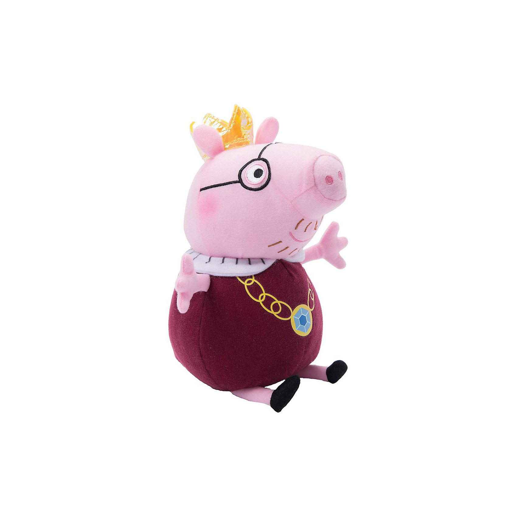 Мягкая игрушка Папа-Свин король, 30 см, Peppa PigЛюбимые герои<br>Мягкая игрушка Папа-Свин король, 30 см, Peppa Pig (Свинка Пеппа). <br><br>Характеристика:<br><br>• Материал: пластик, текстиль, плюш.   <br>• Размер игрушки: 30 см.<br>• Игрушка мягкая, очень приятная на ощупь. <br><br>Игрушка в виде любимого персонажа мультсериала Peppa Pig, приведет в восторг любого ребенка. Папа-Свин в образе короля неотразим и восхитителен! Игрушка сшита из мягкого приятного на ощупь плюща. С ней очень весело играть днем и приятно засыпать вечером.<br>Собери всю коллекцию плюшевых игрушек Peppa Pig проигрывай сцены из любимых мультфильмов или придумывай свои забавные и интересные истории!  <br><br>Мягкую игрушку Папа-Свин король, 30 см, Peppa Pig (Свинка Пеппа), можно купить в нашем интернет-магазине.<br><br>Ширина мм: 245<br>Глубина мм: 165<br>Высота мм: 120<br>Вес г: 174<br>Возраст от месяцев: 36<br>Возраст до месяцев: 2147483647<br>Пол: Унисекс<br>Возраст: Детский<br>SKU: 5211685
