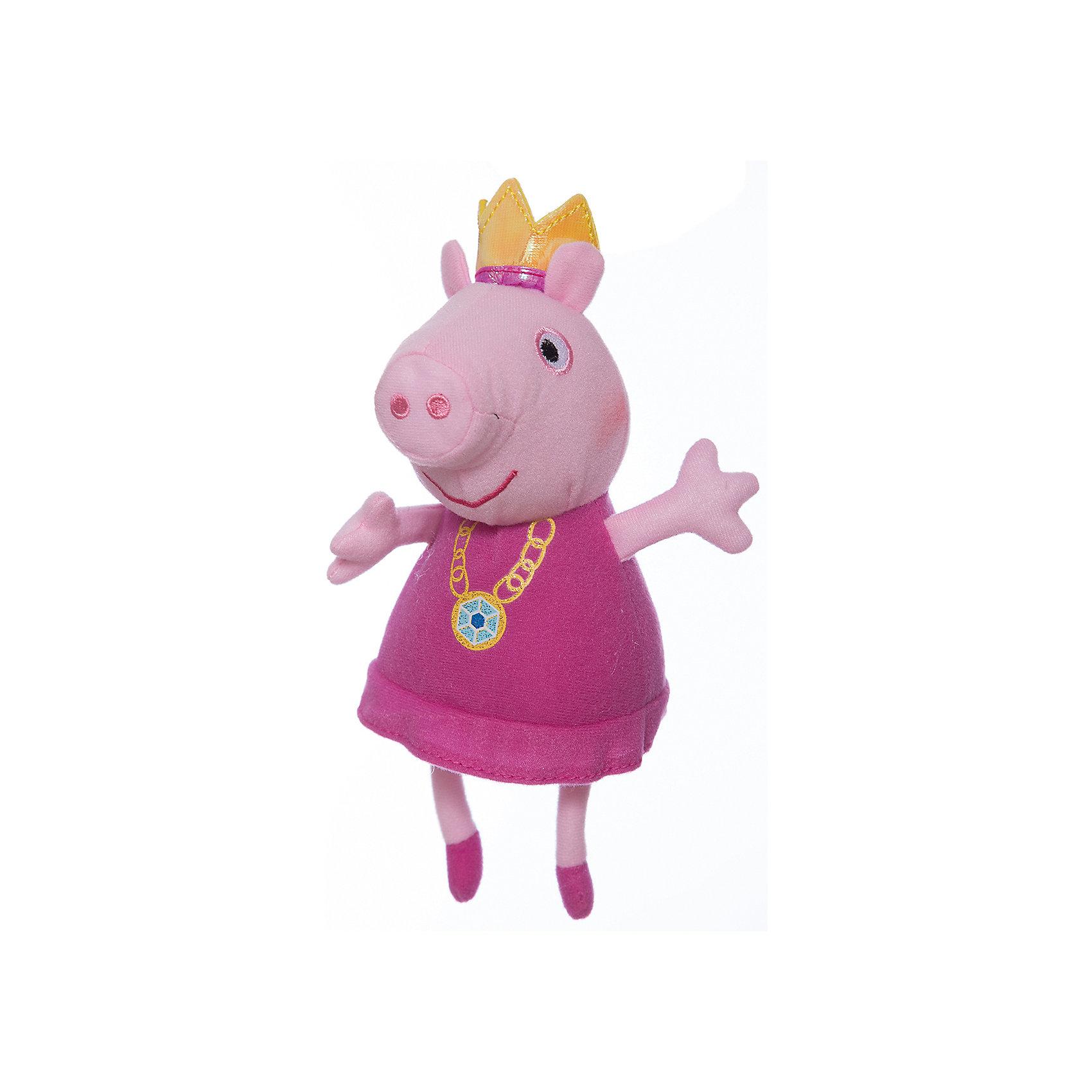 Мягкая игрушка Пеппа-принцесса, 20 см, Peppa PigЛюбимые герои<br>Мягкая игрушка Пеппа-принцесса, 20 см, Peppa Pig (Свинка Пеппа). <br><br>Характеристика:<br><br>• Материал: пластик, текстиль, плюш.   <br>• Размер игрушки: 20 см.<br>• Игрушка мягкая, очень приятная на ощупь. <br><br>Игрушка в виде любимого персонажа мультсериала Peppa Pig, приведет в восторг любого ребенка! Очаровательная Свинка Пеппа в образе принцессы неотразима и восхитительна! Игрушка сшита из мягкого приятного на ощупь плюща. С ней очень весело играть днем и приятно засыпать вечером.<br>Собери всю коллекцию плюшевых игрушек Peppa Pig проигрывай сцены из любимых мультфильмов или придумывай свои забавные и интересные истории!  <br><br>Мягкую игрушку Пеппа-принцесса, 20 см, Peppa Pig (Свинка Пеппа), можно купить в нашем интернет-магазине.<br><br>Ширина мм: 180<br>Глубина мм: 90<br>Высота мм: 80<br>Вес г: 40<br>Возраст от месяцев: 36<br>Возраст до месяцев: 2147483647<br>Пол: Унисекс<br>Возраст: Детский<br>SKU: 5211687