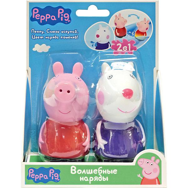 Набор Волшебные наряды, Peppa PigФигурки из мультфильмов<br>Набор Волшебные наряды, Peppa Pig (Свинка Пеппа). <br><br>Характеристика:<br><br>• Материал: пластик.  <br>• Размер упаковки: 14х6х17,3 см. <br>• Высота фигурок: 5,5 см.  <br>• Голова, руки, ноги фигурок подвижные. <br>• 2 фигурки в комплекте. <br><br>Этот набор обязательно порадует всех любителей мультсериала Peppa Pig. Сьюзи и Пеппа - настоящие модницы, а их чудесные платья умеют менять цвет! Опусти игрушки в теплую воду: платье Свинки превратится из красного в желтое, а платье овечки - из фиолетового в розовое. Когда игрушки высохнут, их одежда станет первоначального цвета. Вот такой замечательный и модный фокус!<br>Игрушки изготовлены из нетоксичного гипоаллергенного пластика, прекрасно детализированы и реалистично раскрашены - очень похожи на героев мультфильма.<br><br>Набор Волшебные наряды, Peppa Pig (Свинка Пеппа), можно купить в нашем интернет-магазине.<br>Ширина мм: 140; Глубина мм: 63; Высота мм: 173; Вес г: 115; Возраст от месяцев: 36; Возраст до месяцев: 2147483647; Пол: Унисекс; Возраст: Детский; SKU: 5211689;
