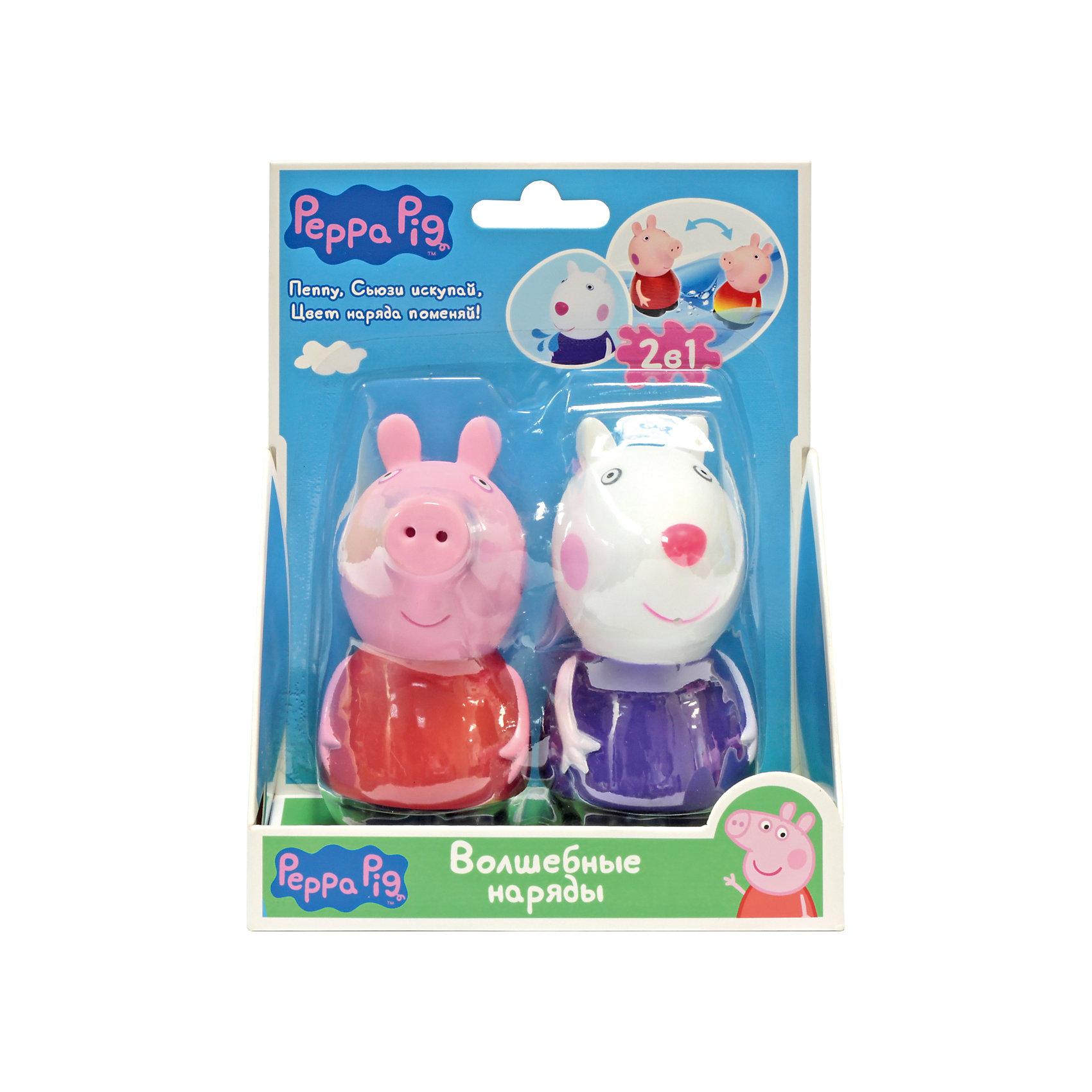 Набор Волшебные наряды, Peppa PigЛюбимые герои<br>Набор Волшебные наряды, Peppa Pig (Свинка Пеппа). <br><br>Характеристика:<br><br>• Материал: пластик.  <br>• Размер упаковки: 14х6х17,3 см. <br>• Высота фигурок: 5,5 см.  <br>• Голова, руки, ноги фигурок подвижные. <br>• 2 фигурки в комплекте. <br><br>Этот набор обязательно порадует всех любителей мультсериала Peppa Pig. Сьюзи и Пеппа - настоящие модницы, а их чудесные платья умеют менять цвет! Опусти игрушки в теплую воду: платье Свинки превратится из красного в желтое, а платье овечки - из фиолетового в розовое. Когда игрушки высохнут, их одежда станет первоначального цвета. Вот такой замечательный и модный фокус!<br>Игрушки изготовлены из нетоксичного гипоаллергенного пластика, прекрасно детализированы и реалистично раскрашены - очень похожи на героев мультфильма.<br><br>Набор Волшебные наряды, Peppa Pig (Свинка Пеппа), можно купить в нашем интернет-магазине.<br><br>Ширина мм: 140<br>Глубина мм: 63<br>Высота мм: 173<br>Вес г: 115<br>Возраст от месяцев: 36<br>Возраст до месяцев: 2147483647<br>Пол: Унисекс<br>Возраст: Детский<br>SKU: 5211689
