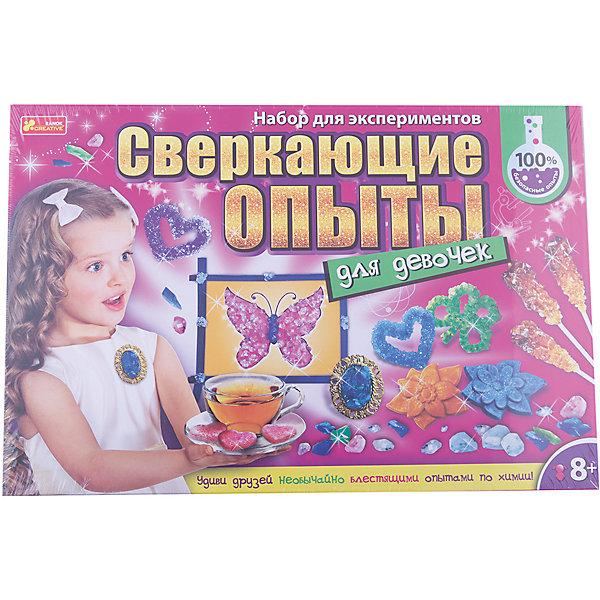 Наборы для творчества, Сверкающие опыты для девочекВыращивание кристаллов<br>Характеристики:<br><br>• Вид игр: развивающие, обучающие занятия<br>• Предназначение: для проведения опытов в домашних условиях<br>• Пол: для девочек<br>• Предметная область: химия<br>• Комплектация: мерный стаканчик, пластиковая ложка, пакетики с алюмокалиевыми квасцами, медным купоросом, тетраборатом натрия, желатином, меловым порошком, пищевыми красителями, глиттером, блистерные формы для заливки, деревянные палочки, стаканчики, картон, краски, чашка Петри, проволока с ворсинками, нитка, клей ПВА, кулон, кисточка, картонная основа и подставка, брошюра<br>• Материал: текстиль, дерево, картон, пластик, реактивы<br>• Размеры упаковки (Д*Ш*В): 44*30*6 см<br>• Вес упаковки: 838 г <br>• Упаковка: картонная коробка<br><br>Наборы для творчества, Сверкающие опыты для девочек разработаны компанией, специализирующейся на производстве товаров для организации творческого досуга детей разного возраста – Ranok Creative. Набор состоит из материалов и приспособлений для проведения 9-ти опытов по выращиванию кристаллов, среди них: выращивание кристаллов из алюмокалиевых квасцов и медного купороса, создание кристаллических украшений, фигурок и узоров, а также выращивание сладких кристаллов и приготовление сахарных фигурок.<br>Все материалы, использованные в наборе, имеют натуральную основу, они нетоксичны и безопасны. Увлекательные наборы экспериментов от Ranok Creative позволят проводить интересные и увлекательные занятия для детей. Экспериментальная деятельность способствует развитию у детей креативного мышления, любознательности и интеллекта. <br>Наборы для творчества, Сверкающие опыты для девочек даст возможность освоить сложные химические процессы в легкой игровой форме.<br><br>Наборы для творчества, Сверкающие опыты для девочек можно купить в нашем интернет-магазине.<br><br>Ширина мм: 290<br>Глубина мм: 60<br>Высота мм: 300<br>Вес г: 550<br>Возраст от месяцев: 84<br>Возраст до месяцев: 180<br>Пол: Же