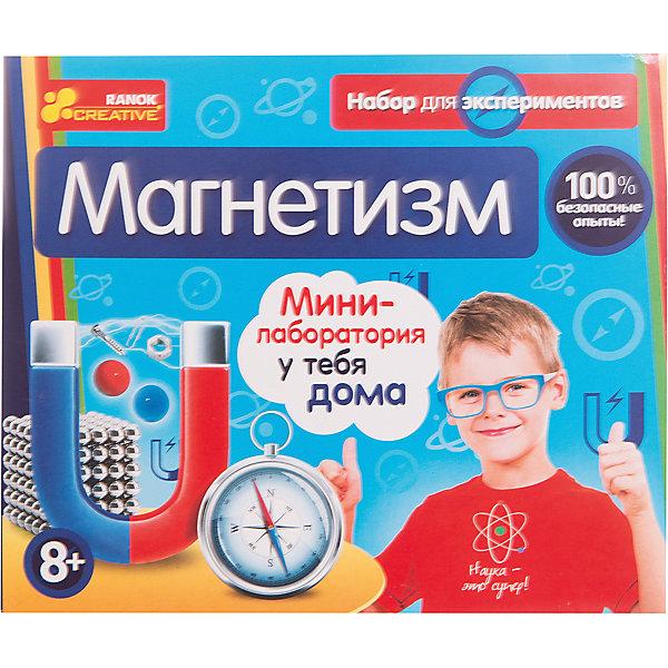 Набор для экспериментов «Магнетизм»Наборы для создания мыла<br>Научная игра магнетизм предлагает 14 занимательных опытов. Среди них: делаем электромагнит, делаем компас, необычные обычные вещи, идем на рыбалку.<br>В комплекте:<br>- магнит прямоугольный <br>- магнит круглый <br>- гвоздь <br>- металлическая пыль <br>- медная проволока <br>- скрепки <br>- игла <br>- шуруп <br>- трубочки <br>- цветной пластик <br>- набор для игры <br>- методические рекомендации с пошаговым описанием проведения опытов<br>Набор для экспериментов «магнетизм» позволит детям самостоятельно провести физические опыты в домашних условиях. Даже неподготовленный экспериментатор сможет самостоятельно сделать электромагнит, электродвигатель и компас, проверить силу различных магнитов, устроить забавные игры с магнитами. Подробное описание опытов не позволит ребенку ошибиться.<br><br>Ширина мм: 180<br>Глубина мм: 80<br>Высота мм: 150<br>Вес г: 190<br>Возраст от месяцев: 96<br>Возраст до месяцев: 192<br>Пол: Унисекс<br>Возраст: Детский<br>SKU: 5212544