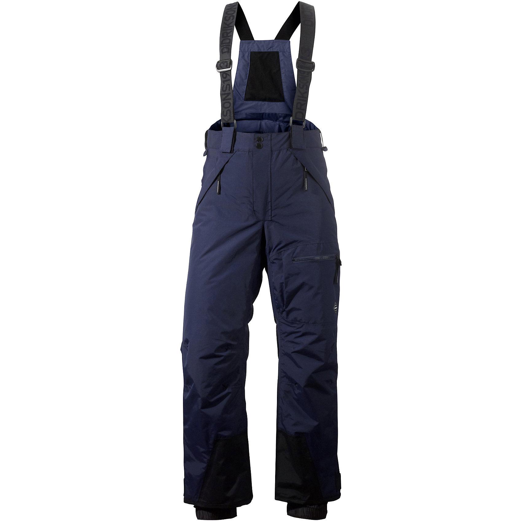 Брюки Elton для мальчика DIDRIKSONSВерхняя одежда<br>Характеристики товара:<br><br>• цвет: синий<br>• материал: 100% полиамид, подкладка 100% полиэстер<br>• утеплитель: 60 г/м<br>• сезон: зима<br>• температурный режим от +5 до -20С<br>• непромокаемая и непродуваемая мембранная ткань<br>• дополнительная пропитка верха<br>• прокленные швы<br>• талия и низ штанин регулируется<br>• внутренние гетры<br>• ширинка на молнии<br>• лямки<br>• страна бренда: Швеция<br>• страна производства: Китай<br><br>Такие брюки незаменимы в холодную и сырую погоду! Это не только стильно, но еще и очень комфортно, а также тепло. Они обеспечат ребенку удобство при прогулках и активном отдыхе зимой. Брюки от шведского производителя легко трансформируются под рост ребенка и погодные условия.<br>Модель сшита из мембранной ткани, которая позволяет телу дышать, но при этом не промокает и не продувается. Очень стильная и удобная модель! Изделие качественно выполнено, сделано из безопасных для детей материалов. <br><br>Брюки для мальчика от бренда DIDRIKSONS можно купить в нашем интернет-магазине.<br><br>Ширина мм: 215<br>Глубина мм: 88<br>Высота мм: 191<br>Вес г: 336<br>Цвет: голубой<br>Возраст от месяцев: 132<br>Возраст до месяцев: 144<br>Пол: Мужской<br>Возраст: Детский<br>Размер: 150,170,160<br>SKU: 5212642