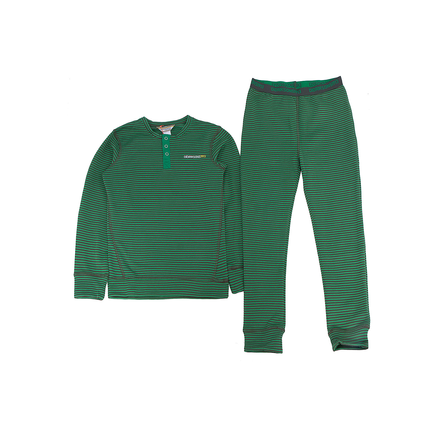 Термобелье Moarri для мальчика DIDRIKSONSФлис и термобелье<br>Характеристики товара:<br><br>• цвет: зеленый<br>• материал: 100% полиэстер<br>• трикотаж<br>• комплектация: штаны и рубашка<br>• длинный рукав<br>• мягкий материал<br>• пояс на резинке<br>• манжеты<br>• горловина на пуговицах<br>• страна бренда: Швеция<br>• страна производства: Китай<br><br>Такой комплект понадобится в холодную и сырую погоду! Он не только очень теплый, но еще и очень комфортный. Комплект обеспечит ребенку удобство при прогулках и активном отдыхе в холода. Такая модель от шведского производителя легко стирается.<br>Материал комплета - легкий трикотаж, который обладает отличными теплоизоляционными свойствами и приятен на ощупь. Очень стильная и удобная модель! Изделие качественно выполнено, сделано из безопасных для детей материалов. <br><br>Термобелье для мальчика от бренда DIDRIKSONS можно купить в нашем интернет-магазине.<br><br>Ширина мм: 356<br>Глубина мм: 10<br>Высота мм: 245<br>Вес г: 519<br>Цвет: зеленый<br>Возраст от месяцев: 36<br>Возраст до месяцев: 48<br>Пол: Мужской<br>Возраст: Детский<br>Размер: 120,100,110,140,130<br>SKU: 5212646