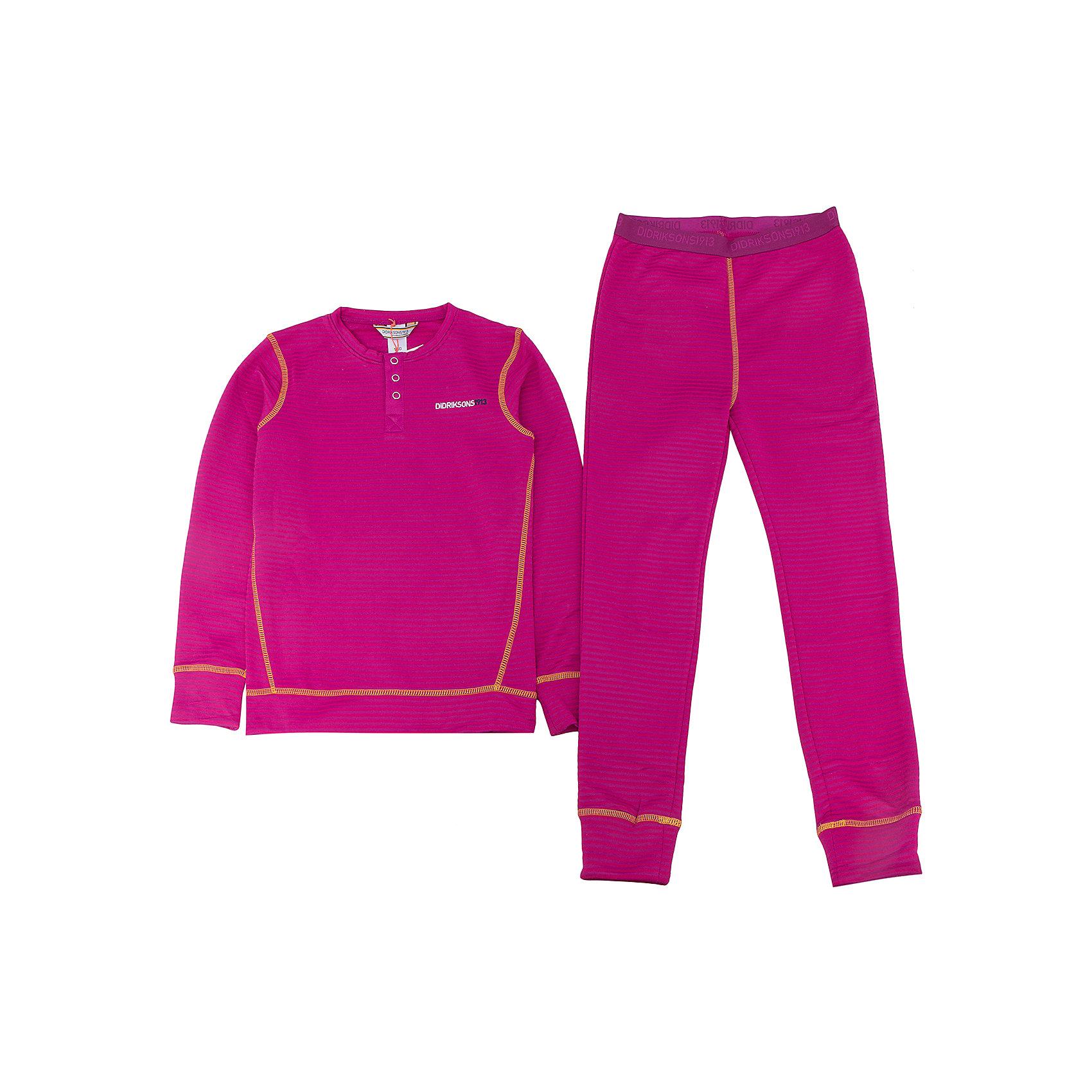 Термобелье Moarri для девочки DIDRIKSONSФлис и термобелье<br>Характеристики товара:<br><br>• цвет: фиолетовый<br>• материал: 100% полиэстер<br>• трикотаж<br>• комплектация: штаны и рубашка<br>• длинный рукав<br>• мягкий материал<br>• пояс на резинке<br>• манжеты<br>• горловина на пуговицах<br>• страна бренда: Швеция<br>• страна производства: Китай<br><br>Такой комплект понадобится в холодную и сырую погоду! Он не только очень теплый, но еще и очень комфортный. Комплект обеспечит ребенку удобство при прогулках и активном отдыхе в холода. Такая модель от шведского производителя легко стирается.<br>Материал комплета - легкий трикотаж, который обладает отличными теплоизоляционными свойствами и приятен на ощупь. Очень стильная и удобная модель! Изделие качественно выполнено, сделано из безопасных для детей материалов. <br><br>Термобелье для девочки от бренда DIDRIKSONS можно купить в нашем интернет-магазине.<br><br>Ширина мм: 356<br>Глубина мм: 10<br>Высота мм: 245<br>Вес г: 519<br>Цвет: фиолетовый<br>Возраст от месяцев: 36<br>Возраст до месяцев: 48<br>Пол: Женский<br>Возраст: Детский<br>Размер: 100,110,120,130,140<br>SKU: 5212652