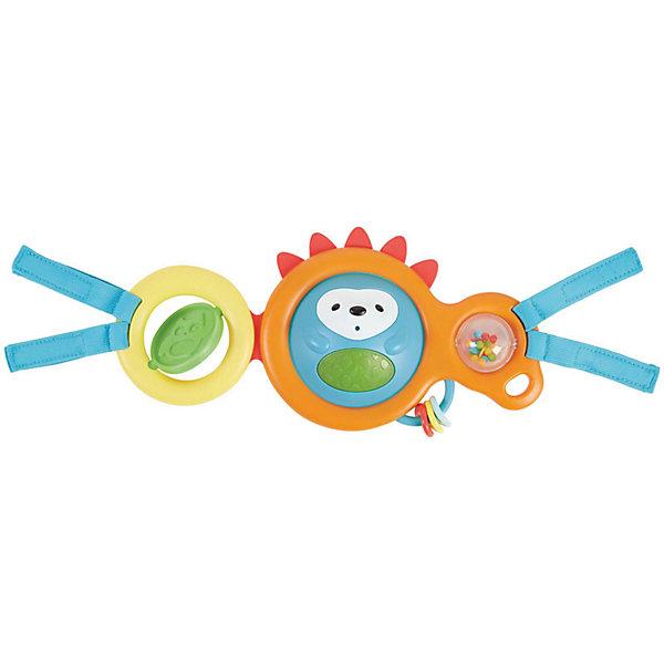 Развивающая игрушка-растяжка на коляску/кресло, Skip HopИгрушки для новорожденных<br>Характеристики товара:<br><br>• возраст с рождения;<br>• материал: пластик;<br>• 4 мелодии<br>• световые эффекты<br>• размер игрушки 30х15х4,5 см;<br>• страна производитель: Китай.<br><br>Развивающая игрушка-растяжка на коляску и кресло Skip Hop выполнена в виде круглого ежика с резиновыми шипами для прорезывания зубов. Игрушка крепится на прогулочные коляски и автокресла, что позволяет малышу весело провести время на прогулке и в поездке. Крутящийся шарик в центре выполняет роль погремушки. Игрушка проигрывает 4 мелодии, которые позволят успокоить малыша или убаюкать. Она способствует развитию тактильных ощущений, моторики рук, хватательного рефлекса. Погремушка выполнена из качественного нетоксичного пластика.<br><br>Развивающую игрушку-растяжку на коляску и кресло Skip Hop можно приобрести в нашем интернет-магазине.<br>Ширина мм: 366; Глубина мм: 205; Высота мм: 68; Вес г: 357; Цвет: mehrfarbig; Возраст от месяцев: 0; Возраст до месяцев: 12; Пол: Унисекс; Возраст: Детский; SKU: 5215512;