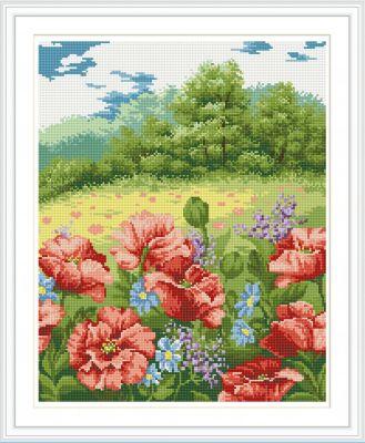 TUKZAR Алмазная мозаика по номерам Маки на опушке 40*50 см (на подрамнике)