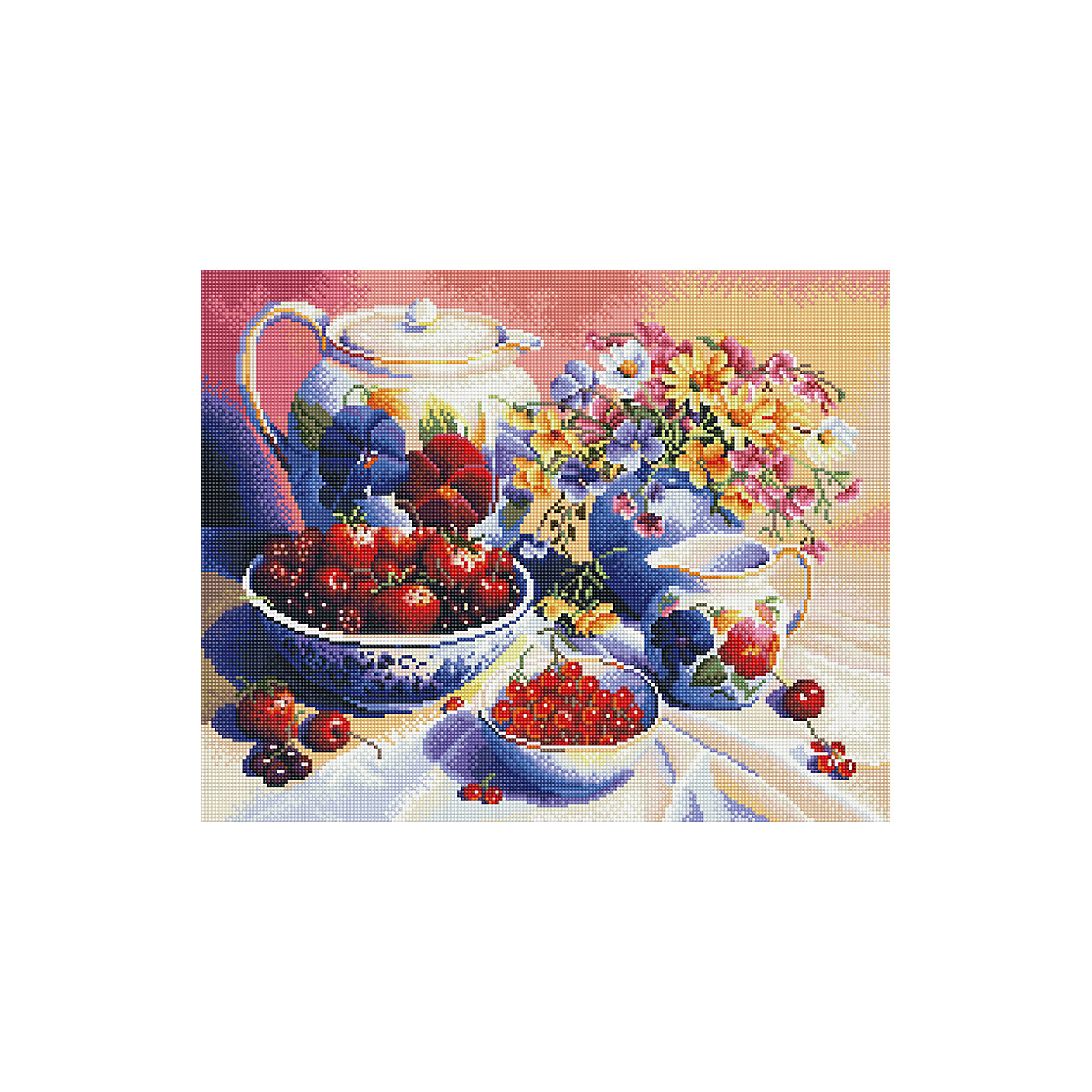 Алмазная мозаика Натюрморт с ягодами 40*50 смМозаика<br>Характеристики товара:<br><br>• размер: 40x50 см<br>• размер упаковки: 42x52х5 см<br>• комплектация: холст 40х50 см, комплект искусственных камней, пинцет, пластмассовый лоток для камней, пластмассовый карандаш для камней, клей<br>• материал: акрил, текстиль, пластик<br>• не требует специальных навыков<br>• для творчества<br>• страна бренда: Российская Федерация<br>• страна производства: Китай<br><br>Алмазная мозаика в настоящий момент очень популярна, и это не удивительно! С помощью подобных наборов можно создавать красивые переливающиеся картины, при этом совсем не обязательно иметь опыт рукоделия. В набор для создания алмазной мозаики входит основа, на которую нужно наклеить небольшие камни - поля пронумерованы, поэтому найти для них правильное место не составит труда. В итоге получается картина, которой можно украсить помещение или подарить кому-то!<br>Набор станет отличным подарком для взрослых и детей. Подобные занятия помогают ребенку развивать важные навыки и способности, они активизирует мышление, формируют усидчивость, логику, абстрактное мышление и воображение. Изделие производится из качественных и проверенных материалов, которые безопасны для детей.<br><br>Алмазную мозаику по номерам Натюрморт с ягодами 40*50 см с прозрачными стразами от бренда Tukzar можно купить в нашем интернет-магазине.<br><br>Ширина мм: 420<br>Глубина мм: 520<br>Высота мм: 50<br>Вес г: 900<br>Возраст от месяцев: 96<br>Возраст до месяцев: 2147483647<br>Пол: Женский<br>Возраст: Детский<br>SKU: 5217124