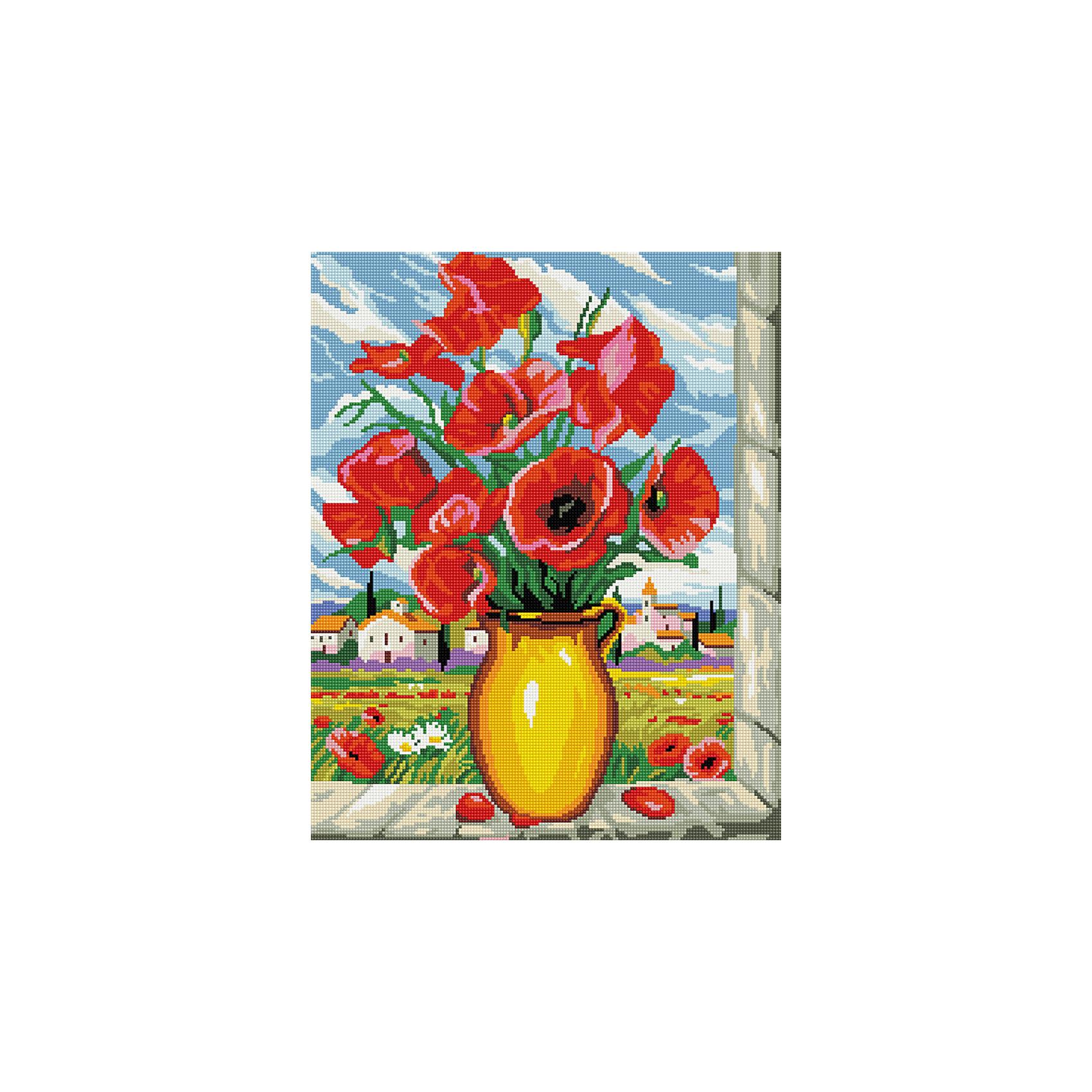 Алмазная мозаика Маки на окне 40*50 смХарактеристики:<br><br>• Предназначение: для занятий творчеством в технике алмазной живописи<br>• Тематика: Цветы<br>• Пол: для девочек<br>• Уровень сложности: средний<br>• Материал: дерево, бумага, акрил, пластик<br>• Цвет: красный, зеленый, черный, желтый, белый, голубой и др.<br>• Количество цветов: 29<br>• Комплектация: холст на подрамнике, стразы, пинцет, карандаш для камней, клей, лоток для камней, инструкция<br>• Размеры (Ш*Д): 40*50 см<br>• Тип выкладки камней: сплошное заполнение рисунка<br>• Стразы квадратной формы <br>• Вес: 900 г <br>• Упаковка: картонная коробка<br><br>Алмазная мозаика Маки на окне 40*50 см – это набор для создания картины в технике алмазной живописи. Набор для творчества включает в себя холст, на который нанесена схема рисунка, комплекта разноцветных страз квадратной формы, подрамника и инструментов для выкладки узора. Все использованные в наборе материалы экологичные и нетоксичные. Картина выполняется в технике сплошного заполнения декоративными элементами поверхности холста, что обеспечивает высокую реалистичность рисунка. На схеме изображены крупные красные маки. <br>Готовые наборы для алмазной мозаики – это оптимальный вариант для любителей рукоделия, так как в них предусмотрены все материалы в требуемом для изготовления картины количестве. Занятия алмазной живописью позволят развивать навыки чтения схем, выполнения заданий по образцу, будут способствовать внимательности, терпению и развитию мелкой моторики. <br>Наборы алмазной мозаики могут быть преподнесены в качестве подарка не только девочкам, но и взрослым любительницам рукоделия.<br><br>Алмазную мозаику Маки на окне 40*50 см можно купить в нашем интернет-магазине.<br><br>Ширина мм: 420<br>Глубина мм: 520<br>Высота мм: 50<br>Вес г: 900<br>Возраст от месяцев: 96<br>Возраст до месяцев: 2147483647<br>Пол: Женский<br>Возраст: Детский<br>SKU: 5217128