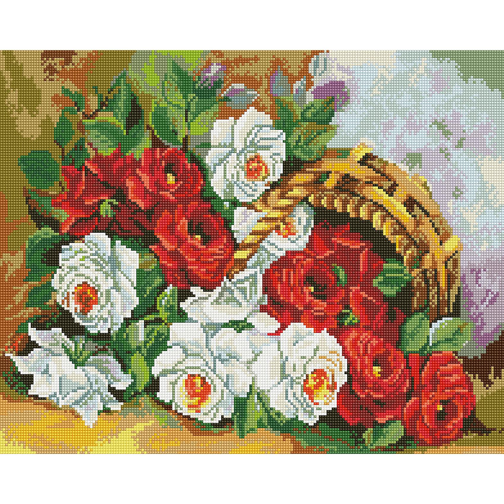Алмазная мозаика Корзинка с бархатными розами 40*50 смХарактеристики:<br><br>• Предназначение: для занятий творчеством в технике алмазной живописи<br>• Тематика: Цветы<br>• Пол: для девочек<br>• Уровень сложности: средний<br>• Материал: дерево, бумага, акрил, пластик<br>• Цвет: красный, зеленый, черный, желтый, белый, голубой и др.<br>• Количество цветов: 38<br>• Комплектация: холст на подрамнике, стразы, пинцет, карандаш для камней, клей, лоток для камней, инструкция<br>• Размеры (Ш*Д): 40*50 см<br>• Тип выкладки камней: сплошное заполнение рисунка<br>• Стразы квадратной формы <br>• Вес: 900 г <br>• Упаковка: картонная коробка<br><br>Алмазная мозаика Корзинка с бархатными розами 40*50 см – это набор для создания картины в технике алмазной живописи. Набор для творчества включает в себя холст, на который нанесена схема рисунка, комплекта разноцветных страз квадратной формы, подрамника и инструментов для выкладки узора. Все использованные в наборе материалы экологичные и нетоксичные. Картина выполняется в технике сплошного заполнения декоративными элементами поверхности холста, что обеспечивает высокую реалистичность рисунка. На схеме изображена корзинка из лозы с белыми и красными розами. <br>Готовые наборы для алмазной мозаики – это оптимальный вариант для любителей рукоделия, так как в них предусмотрены все материалы в требуемом для изготовления картины количестве. Занятия алмазной живописью позволят развивать навыки чтения схем, выполнения заданий по образцу, будут способствовать внимательности, терпению и развитию мелкой моторики. <br>Наборы алмазной мозаики могут быть преподнесены в качестве подарка не только девочкам, но и взрослым любительницам рукоделия.<br><br>Алмазную мозаику Корзинка с бархатными розами 40*50 см можно купить в нашем интернет-магазине.<br><br>Ширина мм: 420<br>Глубина мм: 520<br>Высота мм: 50<br>Вес г: 900<br>Возраст от месяцев: 96<br>Возраст до месяцев: 2147483647<br>Пол: Женский<br>Возраст: Детский<br>SKU: 5217130