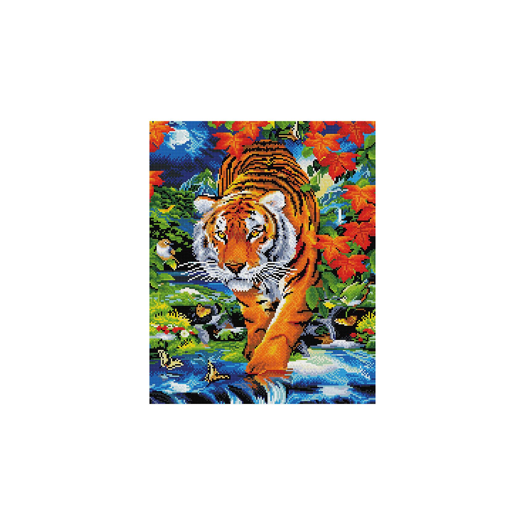 Алмазная мозаика Тигр 40*50 смХарактеристики:<br><br>• Предназначение: для занятий творчеством в технике алмазной живописи<br>• Тематика: Животные<br>• Пол: для девочек<br>• Уровень сложности: средний<br>• Материал: дерево, бумага, акрил, пластик<br>• Цвет: оттенки коричневого, оранжевый, желтый, голубой, синий, зеленый, красныйи др.<br>• Количество цветов: 32<br>• Комплектация: холст на подрамнике, стразы, пинцет, карандаш для камней, клей, лоток для камней, инструкция<br>• Размеры (Ш*Д): 40*50 см<br>• Тип выкладки камней: сплошное заполнение рисунка<br>• Стразы квадратной формы <br>• Вес: 900 г <br>• Упаковка: картонная коробка<br><br>Алмазная мозаика Тигр 40*50 см – это набор для создания картины в технике алмазной живописи. Набор для творчества включает в себя холст, на который нанесена схема рисунка, комплекта разноцветных страз квадратной формы, подрамника и инструментов для выкладки узора. Все использованные в наборе материалы экологичные и нетоксичные. Картина выполняется в технике сплошного заполнения декоративными элементами поверхности холста, что обеспечивает высокую реалистичность рисунка. На схеме изображен тигр у источника. <br>Готовые наборы для алмазной мозаики – это оптимальный вариант для любителей рукоделия, так как в них предусмотрены все материалы в требуемом для изготовления картины количестве. Занятия алмазной живописью позволят развивать навыки чтения схем, выполнения заданий по образцу, будут способствовать внимательности, терпению и развитию мелкой моторики. <br>Наборы алмазной мозаики могут быть преподнесены в качестве подарка не только девочкам, но и взрослым любительницам рукоделия.<br><br>Алмазную мозаику Тигр 40*50 см можно купить в нашем интернет-магазине.<br><br>Ширина мм: 420<br>Глубина мм: 520<br>Высота мм: 50<br>Вес г: 900<br>Возраст от месяцев: 96<br>Возраст до месяцев: 2147483647<br>Пол: Женский<br>Возраст: Детский<br>SKU: 5217139