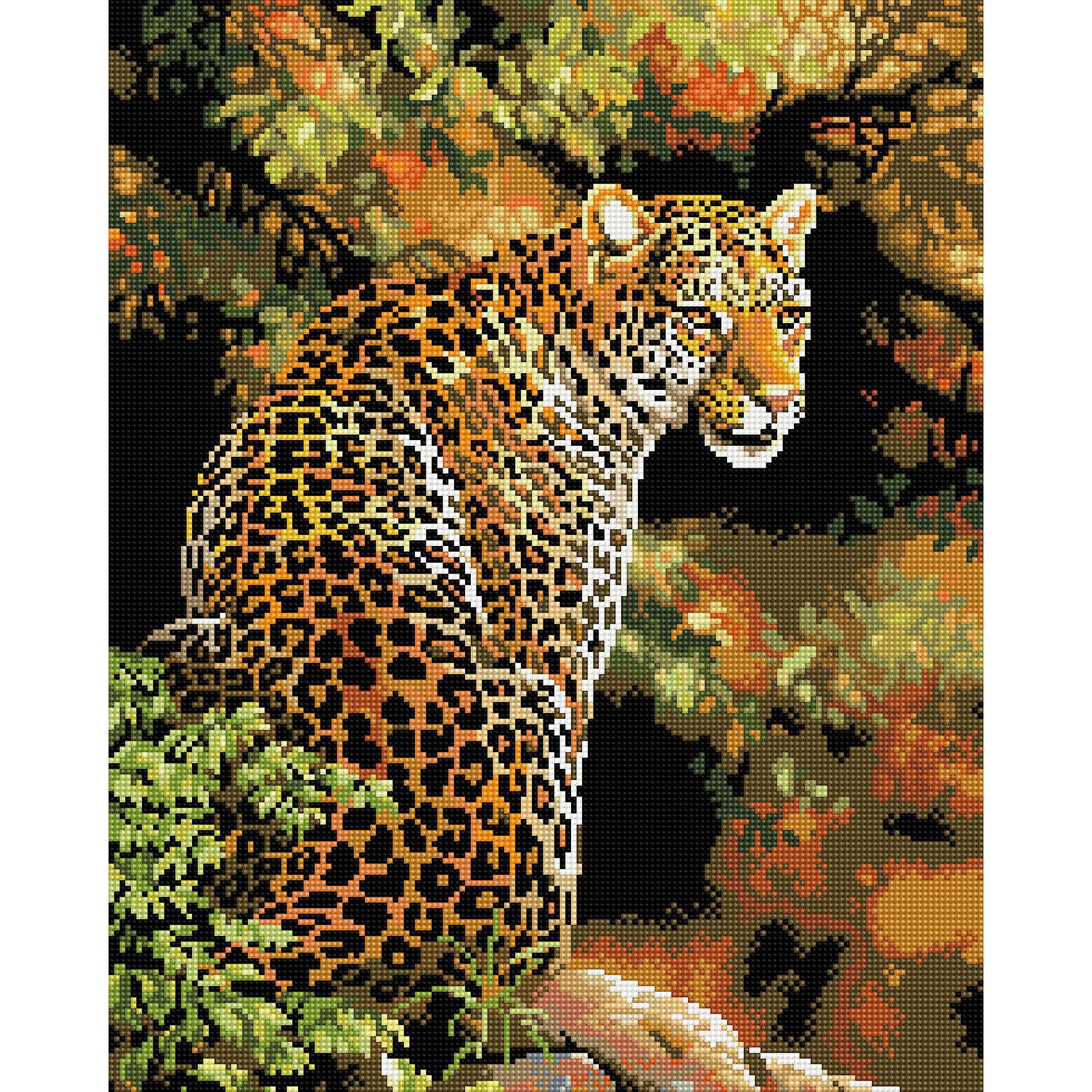 Алмазная мозаика Леопард 40*50 смХарактеристики:<br><br>• Предназначение: для занятий творчеством в технике алмазной живописи<br>• Тематика: Животные<br>• Пол: для девочек<br>• Уровень сложности: средний<br>• Материал: дерево, бумага, акрил, пластик<br>• Цвет: оттенки коричневого, оранжевый, желтый, зеленый и др.<br>• Количество цветов: 26<br>• Комплектация: холст на подрамнике, стразы, пинцет, карандаш для камней, клей, лоток для камней, инструкция<br>• Размеры (Ш*Д): 40*50 см<br>• Тип выкладки камней: сплошное заполнение рисунка<br>• Стразы квадратной формы <br>• Вес: 900 г <br>• Упаковка: картонная коробка<br><br>Алмазная мозаика Леопард 40*50 см – это набор для создания картины в технике алмазной живописи. Набор для творчества включает в себя холст, на который нанесена схема рисунка, комплекта разноцветных страз квадратной формы, подрамника и инструментов для выкладки узора. Все использованные в наборе материалы экологичные и нетоксичные. Картина выполняется в технике сплошного заполнения декоративными элементами поверхности холста, что обеспечивает высокую реалистичность рисунка. На схеме изображен леопард, сидящий на дереве. <br>Готовые наборы для алмазной мозаики – это оптимальный вариант для любителей рукоделия, так как в них предусмотрены все материалы в требуемом для изготовления картины количестве. Занятия алмазной живописью позволят развивать навыки чтения схем, выполнения заданий по образцу, будут способствовать внимательности, терпению и развитию мелкой моторики. <br>Наборы алмазной мозаики могут быть преподнесены в качестве подарка не только девочкам, но и взрослым любительницам рукоделия.<br><br>Алмазную мозаику Леопард 40*50 см можно купить в нашем интернет-магазине.<br><br>Ширина мм: 420<br>Глубина мм: 520<br>Высота мм: 50<br>Вес г: 900<br>Возраст от месяцев: 96<br>Возраст до месяцев: 2147483647<br>Пол: Женский<br>Возраст: Детский<br>SKU: 5217140