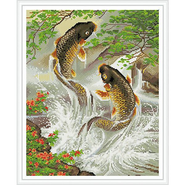 Алмазная мозаика Карпы 40*50 смПоследняя цена<br>Характеристики:<br><br>• Предназначение: для занятий творчеством в технике алмазной живописи<br>• Тематика: Рыбы<br>• Пол: для девочек<br>• Уровень сложности: средний<br>• Материал: дерево, бумага, акрил, пластик<br>• Цвет: зеленый, желтый, красный, коричневый, оранжевый и др.<br>• Количество цветов: 36<br>• Комплектация: холст на подрамнике, стразы, пинцет, карандаш для камней, клей, лоток для камней, инструкция<br>• Размеры (Ш*Д): 40*50 см<br>• Тип выкладки камней: сплошное заполнение рисунка<br>• Стразы квадратной формы <br>• Вес: 900 г <br>• Упаковка: картонная коробка<br><br>Алмазная мозаика Карпы 40*50 см – это набор для создания картины в технике алмазной живописи. Набор для творчества включает в себя холст, на который нанесена схема рисунка, комплекта разноцветных страз квадратной формы, подрамника и инструментов для выкладки узора. Все использованные в наборе материалы экологичные и нетоксичные. Картина выполняется в технике сплошного заполнения декоративными элементами поверхности холста, что обеспечивает высокую реалистичность рисунка. На схеме изображена пара карпов.<br>Готовые наборы для алмазной мозаики – это оптимальный вариант для любителей рукоделия, так как в них предусмотрены все материалы в требуемом для изготовления картины количестве. Занятия алмазной живописью позволят развивать навыки чтения схем, выполнения заданий по образцу, будут способствовать внимательности, терпению и развитию мелкой моторики. <br>Наборы алмазной мозаики могут быть преподнесены в качестве подарка не только девочкам, но и взрослым любительницам рукоделия.<br><br>Алмазную мозаику Карпы 40*50 см можно купить в нашем интернет-магазине.<br><br>Ширина мм: 420<br>Глубина мм: 520<br>Высота мм: 50<br>Вес г: 900<br>Возраст от месяцев: 96<br>Возраст до месяцев: 2147483647<br>Пол: Женский<br>Возраст: Детский<br>SKU: 5217142