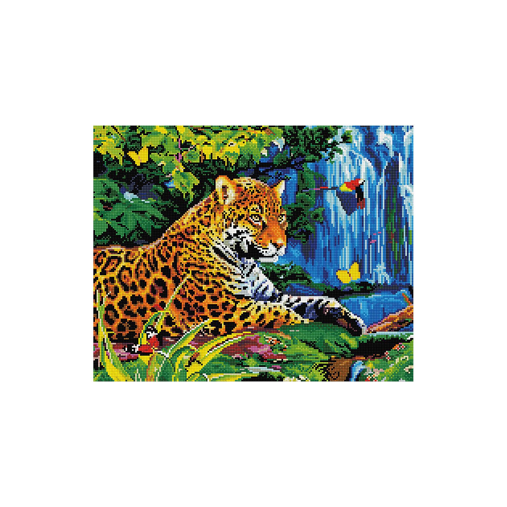 Алмазная мозаика Леопард у водопада 40*50 смХарактеристики:<br><br>• Предназначение: для занятий творчеством в технике алмазной живописи<br>• Тематика: Животные<br>• Пол: для девочек<br>• Уровень сложности: средний<br>• Материал: дерево, бумага, акрил, пластик<br>• Цвет: оттенки коричневого, оттенки синего, оранжевый, желтый, зеленый и др.<br>• Количество цветов: 26<br>• Комплектация: холст на подрамнике, стразы, пинцет, карандаш для камней, клей, лоток для камней, инструкция<br>• Размеры (Ш*Д): 40*50 см<br>• Тип выкладки камней: сплошное заполнение рисунка<br>• Стразы квадратной формы <br>• Вес: 900 г <br>• Упаковка: картонная коробка<br><br>Алмазная мозаика Леопард у водопада 40*50 см – это набор для создания картины в технике алмазной живописи. Набор для творчества включает в себя холст, на который нанесена схема рисунка, комплекта разноцветных страз квадратной формы, подрамника и инструментов для выкладки узора. Все использованные в наборе материалы экологичные и нетоксичные. Картина выполняется в технике сплошного заполнения декоративными элементами поверхности холста, что обеспечивает высокую реалистичность рисунка. На схеме изображен леопард, лежащий у водопада. <br>Готовые наборы для алмазной мозаики – это оптимальный вариант для любителей рукоделия, так как в них предусмотрены все материалы в требуемом для изготовления картины количестве. Занятия алмазной живописью позволят развивать навыки чтения схем, выполнения заданий по образцу, будут способствовать внимательности, терпению и развитию мелкой моторики. <br>Наборы алмазной мозаики могут быть преподнесены в качестве подарка не только девочкам, но и взрослым любительницам рукоделия.<br><br>Алмазную мозаику Леопард у водопада 40*50 см можно купить в нашем интернет-магазине.<br><br>Ширина мм: 420<br>Глубина мм: 520<br>Высота мм: 50<br>Вес г: 900<br>Возраст от месяцев: 96<br>Возраст до месяцев: 2147483647<br>Пол: Женский<br>Возраст: Детский<br>SKU: 5217143