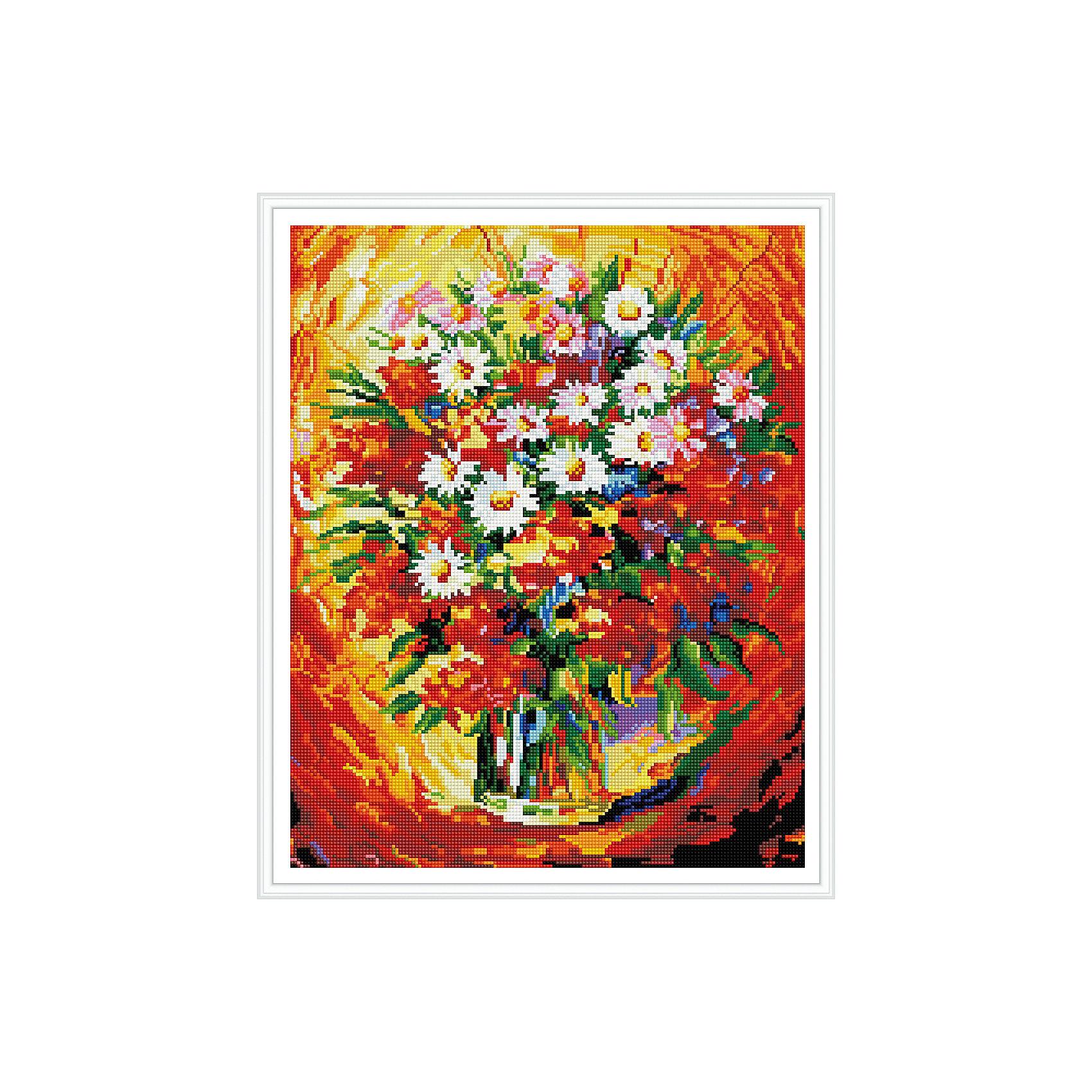 Алмазная мозаика Букет с ромашками 40*50 смПоследняя цена<br>Характеристики:<br><br>• Предназначение: для занятий творчеством в технике алмазной живописи<br>• Тематика: Цветы<br>• Пол: для девочек<br>• Уровень сложности: высокий<br>• Материал: дерево, бумага, акрил, пластик<br>• Цвет: красный, оранжевый, желтый, зеленый, белый, синий и др.<br>• Количество цветов: 26<br>• Комплектация: холст на подрамнике, стразы, пинцет, карандаш для камней, клей, лоток для камней, инструкция<br>• Размеры (Ш*Д): 40*50 см<br>• Тип выкладки камней: сплошное заполнение рисунка<br>• Стразы квадратной формы <br>• Вес: 900 г <br>• Упаковка: картонная коробка<br><br>Алмазная мозаика Букет с ромашками 40*50 см – это набор для создания картины в технике алмазной живописи. Набор для творчества включает в себя холст, на который нанесена схема рисунка, комплекта разноцветных страз квадратной формы, подрамника и инструментов для выкладки узора. Все использованные в наборе материалы экологичные и нетоксичные. Картина выполняется в технике сплошного заполнения декоративными элементами поверхности холста, что обеспечивает высокую реалистичность рисунка. На схеме изображен осенний парк. <br>Готовые наборы для алмазной мозаики – это оптимальный вариант для любителей рукоделия, так как в них предусмотрены все материалы в требуемом для изготовления картины количестве. Занятия алмазной живописью позволят развивать навыки чтения схем, выполнения заданий по образцу, будут способствовать внимательности, терпению и развитию мелкой моторики. <br>Наборы алмазной мозаики могут быть преподнесены в качестве подарка не только девочкам, но и взрослым любительницам рукоделия.<br><br>Алмазную мозаику Букет с ромашками 40*50 см можно купить в нашем интернет-магазине.<br><br>Ширина мм: 420<br>Глубина мм: 520<br>Высота мм: 50<br>Вес г: 900<br>Возраст от месяцев: 96<br>Возраст до месяцев: 2147483647<br>Пол: Женский<br>Возраст: Детский<br>SKU: 5217147