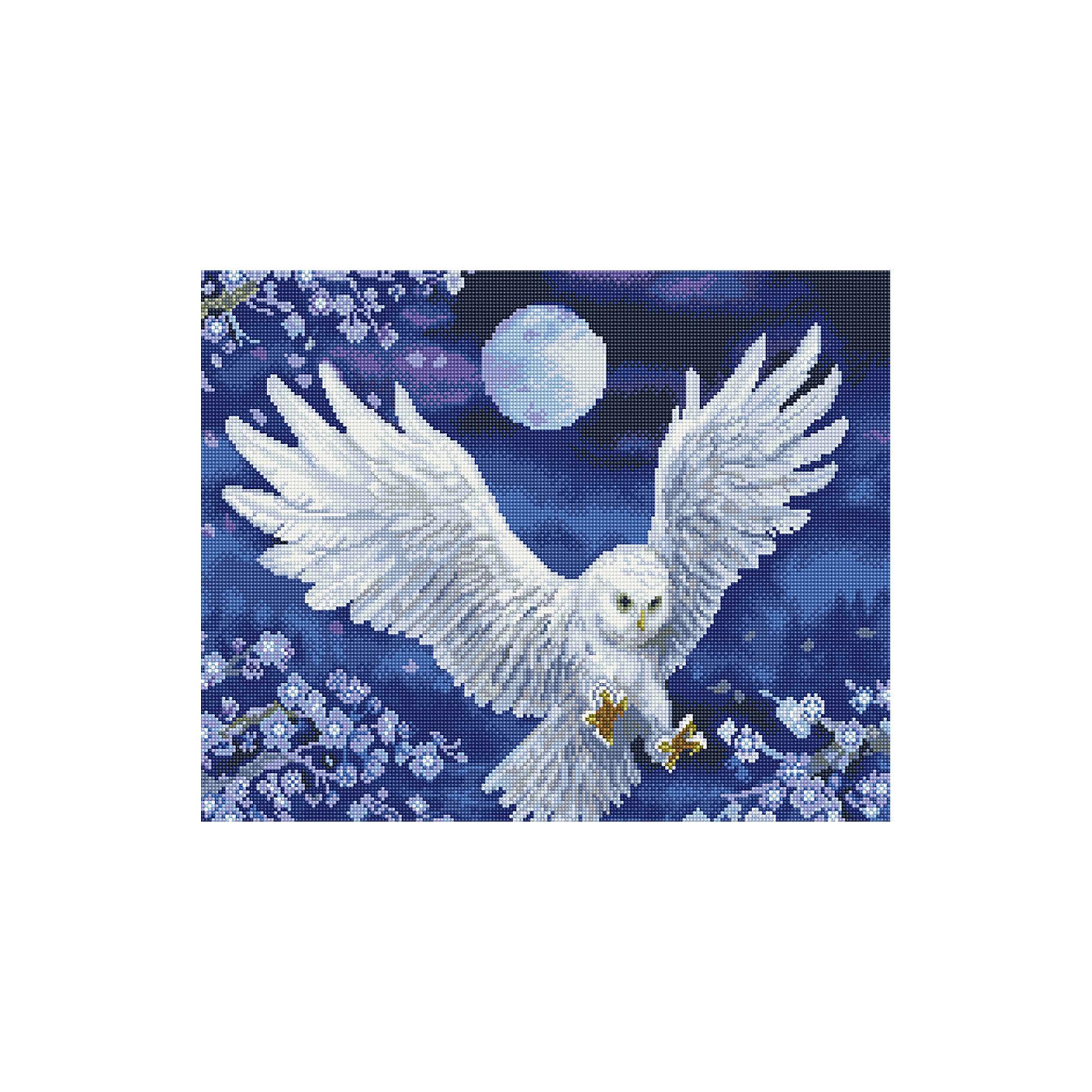 Алмазная мозаика Сипуха 40*50 смХарактеристики:<br><br>• Предназначение: для занятий творчеством в технике алмазной живописи<br>• Тематика: Птицы<br>• Пол: для девочек<br>• Уровень сложности: средний<br>• Материал: дерево, бумага, акрил, пластик<br>• Цвет: белый, серый, голубой, синий и др.<br>• Количество цветов: 26<br>• Комплектация: холст на подрамнике, стразы, пинцет, карандаш для камней, клей, лоток для камней, инструкция<br>• Размеры (Ш*Д): 40*50 см<br>• Тип выкладки камней: сплошное заполнение рисунка<br>• Стразы квадратной формы <br>• Вес: 900 г <br>• Упаковка: картонная коробка<br><br>Алмазная мозаика Сипуха 40*50 см – это набор для создания картины в технике алмазной живописи. Набор для творчества включает в себя холст, на который нанесена схема рисунка, комплекта разноцветных страз квадратной формы, подрамника и инструментов для выкладки узора. Все использованные в наборе материалы экологичные и нетоксичные. Картина выполняется в технике сплошного заполнения декоративными элементами поверхности холста, что обеспечивает высокую реалистичность рисунка. На схеме изображена сипуха в полете.<br>Готовые наборы для алмазной мозаики – это оптимальный вариант для любителей рукоделия, так как в них предусмотрены все материалы в требуемом для изготовления картины количестве. Занятия алмазной живописью позволят развивать навыки чтения схем, выполнения заданий по образцу, будут способствовать внимательности, терпению и развитию мелкой моторики. <br>Наборы алмазной мозаики могут быть преподнесены в качестве подарка не только девочкам, но и взрослым любительницам рукоделия.<br><br>Алмазную мозаику Сипуха 40*50 см можно купить в нашем интернет-магазине.<br><br>Ширина мм: 420<br>Глубина мм: 520<br>Высота мм: 50<br>Вес г: 900<br>Возраст от месяцев: 96<br>Возраст до месяцев: 2147483647<br>Пол: Женский<br>Возраст: Детский<br>SKU: 5217158