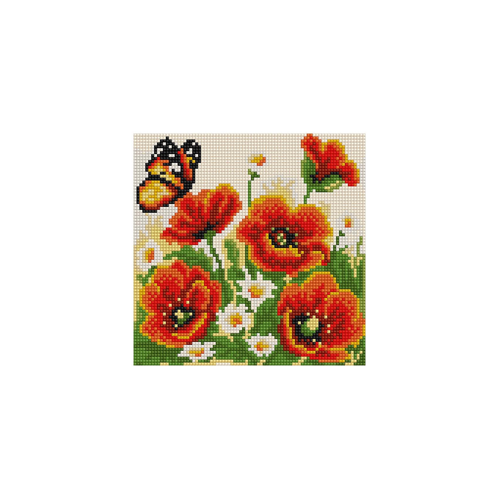 Алмазная мозаика по номерами Маки и бабочка 20*20 смАлмазная мозаика по номерами Маки и бабочка 20х20 см.<br><br>Характеристика:<br><br>• Материал: пластик, картон.  <br>• Размер упаковки: 22х22х3 см. <br>• Размер готовой картинки: 20х20 см. <br>• Комплектация: холст на подрамнике, искусственные камни, пинцет, пластмассовый лоток, пластмассовый карандаш для приклеивания, клей.<br>• Развивает мелкую моторику, внимание, усидчивость, цветовосприятие. <br><br>Набор для творчества Алмазная мозаика по номерам - полезный и всегда желанный подарок на любой праздник. <br>Предложите вашему ребенку создать яркую переливающуюся картинку. Для этого нужно наклеить разноцветные камушки на картонную основу с уже нанесенным контурным рисунком - и маленький красочный шедевр готов! <br>Собирание мозаики прекрасно развивает моторику рук, фантазию, цветовосприятие и мышление, а также дарит море положительный эмоций. <br><br>Алмазную мозаику по номерами Маки и бабочка 20х20 см, можно купить в нашем интернет-магазине.<br><br>Ширина мм: 220<br>Глубина мм: 220<br>Высота мм: 30<br>Вес г: 900<br>Возраст от месяцев: 96<br>Возраст до месяцев: 2147483647<br>Пол: Женский<br>Возраст: Детский<br>SKU: 5217188