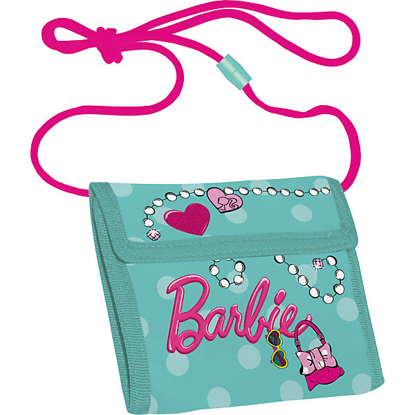 Кошелек, BarbieBarbie<br>Характеристики кошелька, Barbie:<br><br>- тип: кошелек<br>- пол: для девочки<br>- материал: полиэстер<br>- материал подкладки/внутренней отделки: полиэстер<br>- материал фурнитуры: пластик<br>- вид принта: мультгерои<br>- страна-изготовитель:  Китай<br>- упаковка: пакет<br>- размеры: в сложенном виде - 100 * 100 * 15 мм<br>- размер упаковки (дхшхв):  13 * 11 * 3 см<br>- вес в упаковке, 65 г<br><br>Яркий детский кошелек Barbie выполнен из полиэстера и оформлен ярким принтом. Внутри изделие оснащено отделением для денежных купюр и карманом на застежке-молнии. Кошелек складывается втрое и закрывается широким клапаном на липучку. На внутренней стороне предусмотрен шнурок, с помощью которого изделие можно носить через плечо или на шее.<br>кошелек Barbie станет надежным спутником для Вашего ребенка!<br><br>Кошелек, Barbie можно купить в нашем интернет-магазине.<br>Ширина мм: 90; Глубина мм: 90; Высота мм: 20; Вес г: 38; Возраст от месяцев: 96; Возраст до месяцев: 108; Пол: Женский; Возраст: Детский; SKU: 5218407;