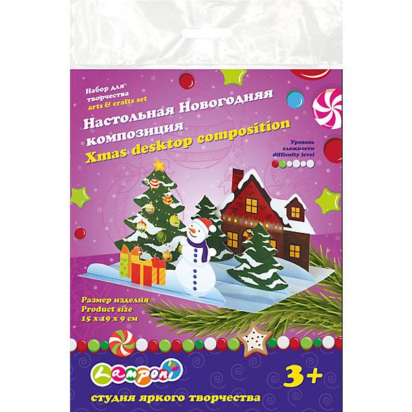 Набор для творчества Настольная Новогодняя композицияНаборы для творчества новогодние<br>Набор для творчества Настольная Новогодняя композиция, Академия Групп<br><br>Характеристики:<br><br>• красочная новогодняя миниатюра<br>• легко создать<br>• развивает фантазию и воображение<br>• в комплекте: бумажная основа, карточки с декоративными элементами с перфорацией (3 штуки)<br>• размер упаковки: 23х0,3х16 см<br>• вес: 31 грамм<br><br>Набор для творчества Настольная Новогодняя композиция от Академия Групп поможет ребенку создать небольшую композицию, которая украсит полку или комод и добавит веселого настроения в предпраздничную атмосферу. На миниатюре изображены самые любимые герои: Снеговичок, новогодняя елочка и, конечно же, подарки. Ребенок сможет придумать чудесную историю или сказку, которая произошла с героями композиции.<br><br>Набор для творчества Настольная Новогодняя композиция, Академия Групп вы можете купить в нашем интернет-магазине.<br><br>Ширина мм: 160<br>Глубина мм: 3<br>Высота мм: 230<br>Вес г: 31<br>Возраст от месяцев: 60<br>Возраст до месяцев: 84<br>Пол: Унисекс<br>Возраст: Детский<br>SKU: 5218442