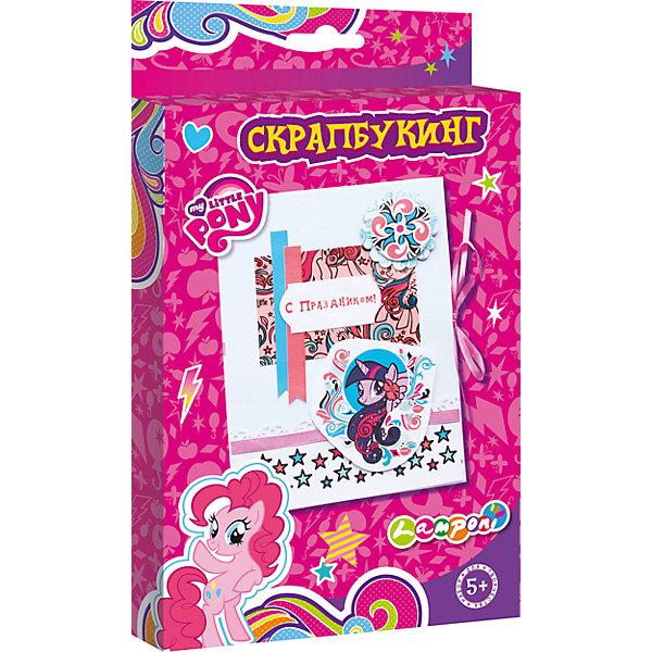 Набор для детского творчества Скрапбукинг, My Little PonyБумага<br>Набор для детского творчества Скрапбукинг, My Little Pony, Академия Групп<br><br>Характеристики:<br><br>• содержит всё необходимое<br>• подходит для первого знакомства со скрапбукингом<br>• герой: My Little Pony<br>• в комплекте: основа из картона, декоративные элементы, атласные ленты, клей, инструкция<br>• размер открытки: 13х17 см<br>• размер упаковки: 1,8х15х24,5 см<br>• вес: 100 грамм<br><br>Если вы хотите познакомить ребенка со скрапбукингом, то набор My Little Pony - это то, что вам нужно. В набор входит всё необходимое для создания первой открытки. Ребенок сможет украсить картонную основу декоративными элементами и атласными лентами, закрепив их клеем. Скрапбукинг хорошо развивает мелкую моторику, внимательность и усидчивость. Готовая открытка отлично подойдет в качестве подарка близкому человеку!<br><br>Набор для детского творчества Скрапбукинг, My Little Pony, Академия Групп вы можете купить в нашем интернет-магазине.<br>Ширина мм: 245; Глубина мм: 150; Высота мм: 18; Вес г: 100; Возраст от месяцев: 60; Возраст до месяцев: 84; Пол: Женский; Возраст: Детский; SKU: 5218449;