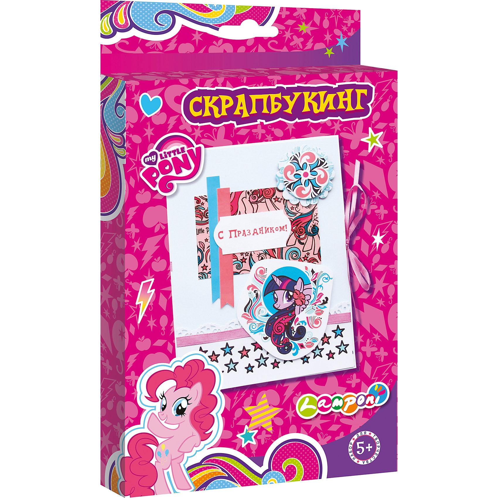 Набор для детского творчества Скрапбукинг, My Little PonyРукоделие<br>Набор для детского творчества Скрапбукинг, My Little Pony, Академия Групп<br><br>Характеристики:<br><br>• содержит всё необходимое<br>• подходит для первого знакомства со скрапбукингом<br>• герой: My Little Pony<br>• в комплекте: основа из картона, декоративные элементы, атласные ленты, клей, инструкция<br>• размер открытки: 13х17 см<br>• размер упаковки: 1,8х15х24,5 см<br>• вес: 100 грамм<br><br>Если вы хотите познакомить ребенка со скрапбукингом, то набор My Little Pony - это то, что вам нужно. В набор входит всё необходимое для создания первой открытки. Ребенок сможет украсить картонную основу декоративными элементами и атласными лентами, закрепив их клеем. Скрапбукинг хорошо развивает мелкую моторику, внимательность и усидчивость. Готовая открытка отлично подойдет в качестве подарка близкому человеку!<br><br>Набор для детского творчества Скрапбукинг, My Little Pony, Академия Групп вы можете купить в нашем интернет-магазине.<br><br>Ширина мм: 245<br>Глубина мм: 150<br>Высота мм: 18<br>Вес г: 100<br>Возраст от месяцев: 60<br>Возраст до месяцев: 84<br>Пол: Женский<br>Возраст: Детский<br>SKU: 5218449
