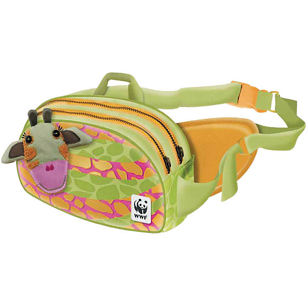 Сумка на пояс 18*8*14 см, WWFДетские сумки<br>Характеристики Товара:<br><br>• размер: 18х8х14 см<br>• два отделения<br>• материал: текстиль<br>• принт<br>• застежка: молния<br>• регулиремый ремень<br><br>Переносить свои вещи приятнее всего в красивой сумке! Такое изделие поможет ребенку аккуратно складывать и всегда иметь под рукой нужные мелочи. Удобный формат, надежный ремень, яркие цвета, качественное исполнение!<br>Что особенно понравится детям - изделие украшено красивым принтом с жирафом. Отличный вариант маленького подарка для ребенка. Товар производится из качественных и проверенных материалов, которые безопасны для детей.<br><br>Сумку на пояс 18*8*14 см, WWF, можно купить в нашем интернет-магазине.<br><br>Ширина мм: 180<br>Глубина мм: 80<br>Высота мм: 140<br>Вес г: 150<br>Возраст от месяцев: 60<br>Возраст до месяцев: 96<br>Пол: Женский<br>Возраст: Детский<br>SKU: 5218481