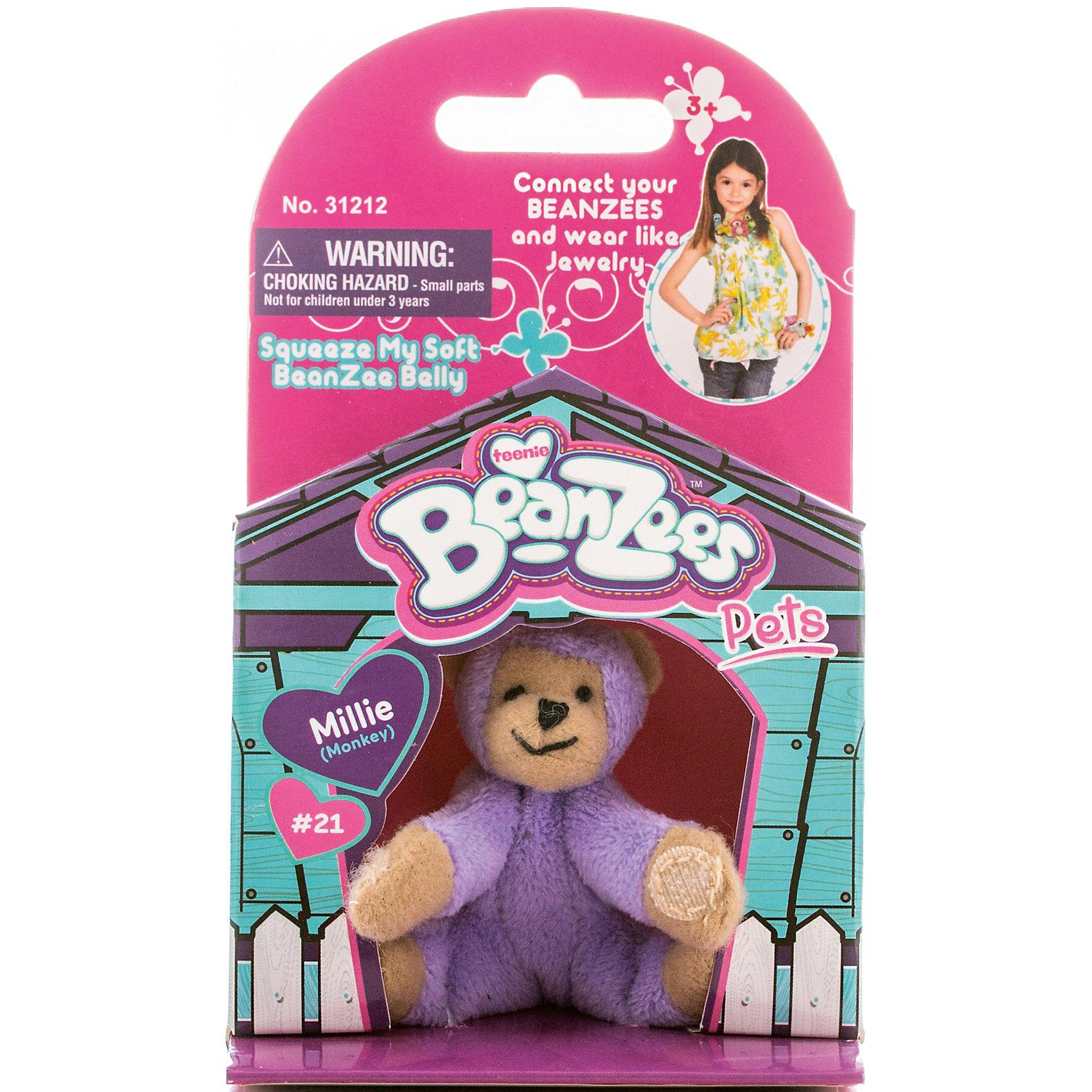 Мини-плюш Обезьяна, BeanzeezМягкие игрушки животные<br>Характеристики товара:<br><br>• особенности: наличие на лапках липучек, игрушку можно соединять с другими героями из серии<br>• материал: пластик, текстиль<br>• размер упаковки: 9х5,5х14,5 см.<br>• высота игрушки: 5 см<br>• возраст: от 3 лет<br>• страна бренда: США<br>• страна производства: Китай<br><br>Такая симпатичная игрушка не оставит ребенка равнодушным! Какой малыш откажется поиграть с маленькими плюшевыми игрушками из большой пушистой коллекции?! Игрушки очень качественно выполнены, поэтому такая фигурка станет отличным подарком ребенку. Благодаря липучкам на лапках животных можно соединить между собой. Дети приходят в восторг от этих игрушек!<br>Такие предметы помогают ребенку отрабатывать новые навыки и способности - развивать ловкость, мелкую моторику, воображение, мышление, логику. Изделие производится из качественных сертифицированных материалов, безопасных даже для самых маленьких.<br><br>Мини-плюш Обезьяна от бренда Beanzeez можно купить в нашем интернет-магазине.<br><br>Ширина мм: 50<br>Глубина мм: 140<br>Высота мм: 85<br>Вес г: 73<br>Возраст от месяцев: 36<br>Возраст до месяцев: 2147483647<br>Пол: Женский<br>Возраст: Детский<br>SKU: 5218672
