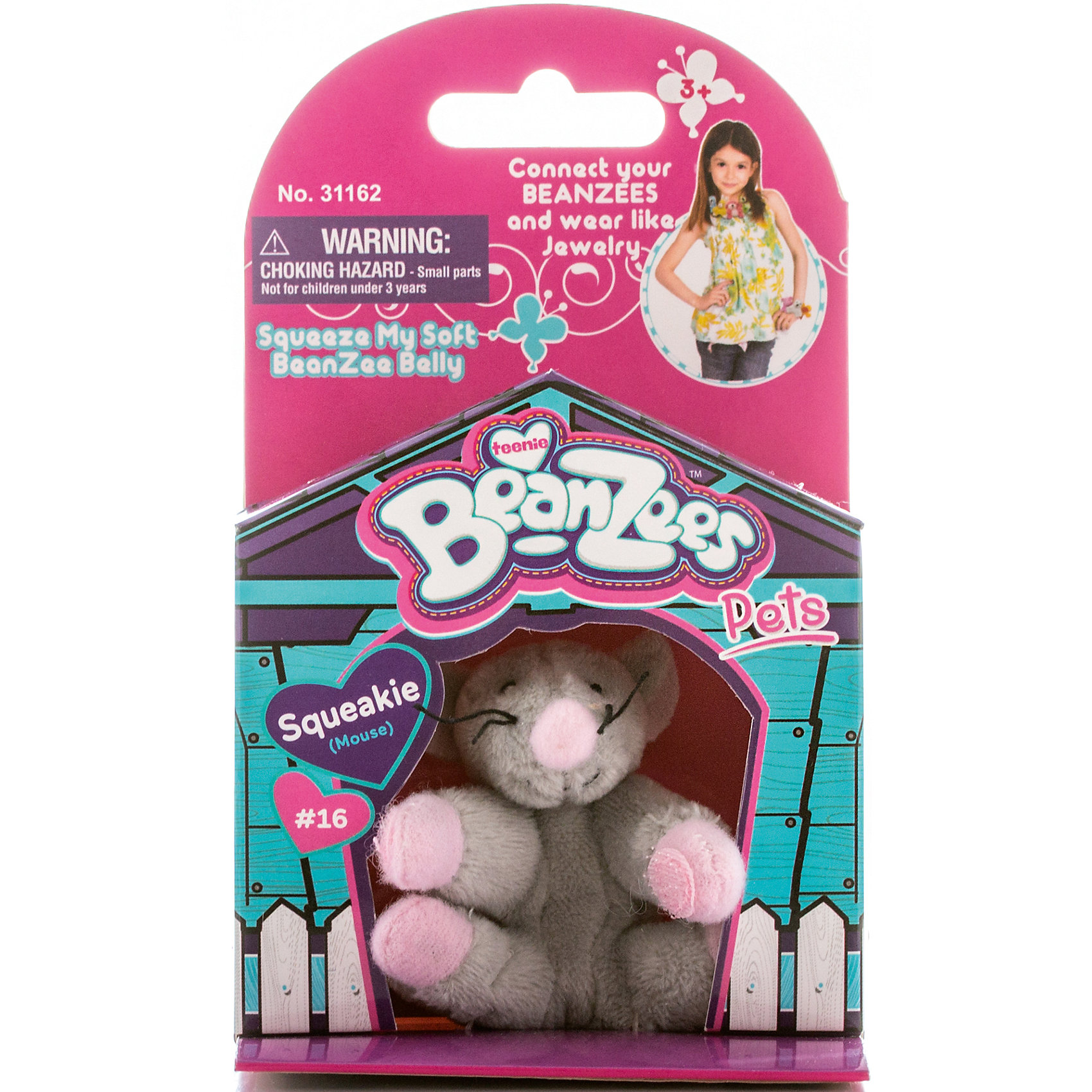 Beanzeez Мини-плюш Мышь, Beanzeez 4moms электронное mamaroo 3 0 серый плюш